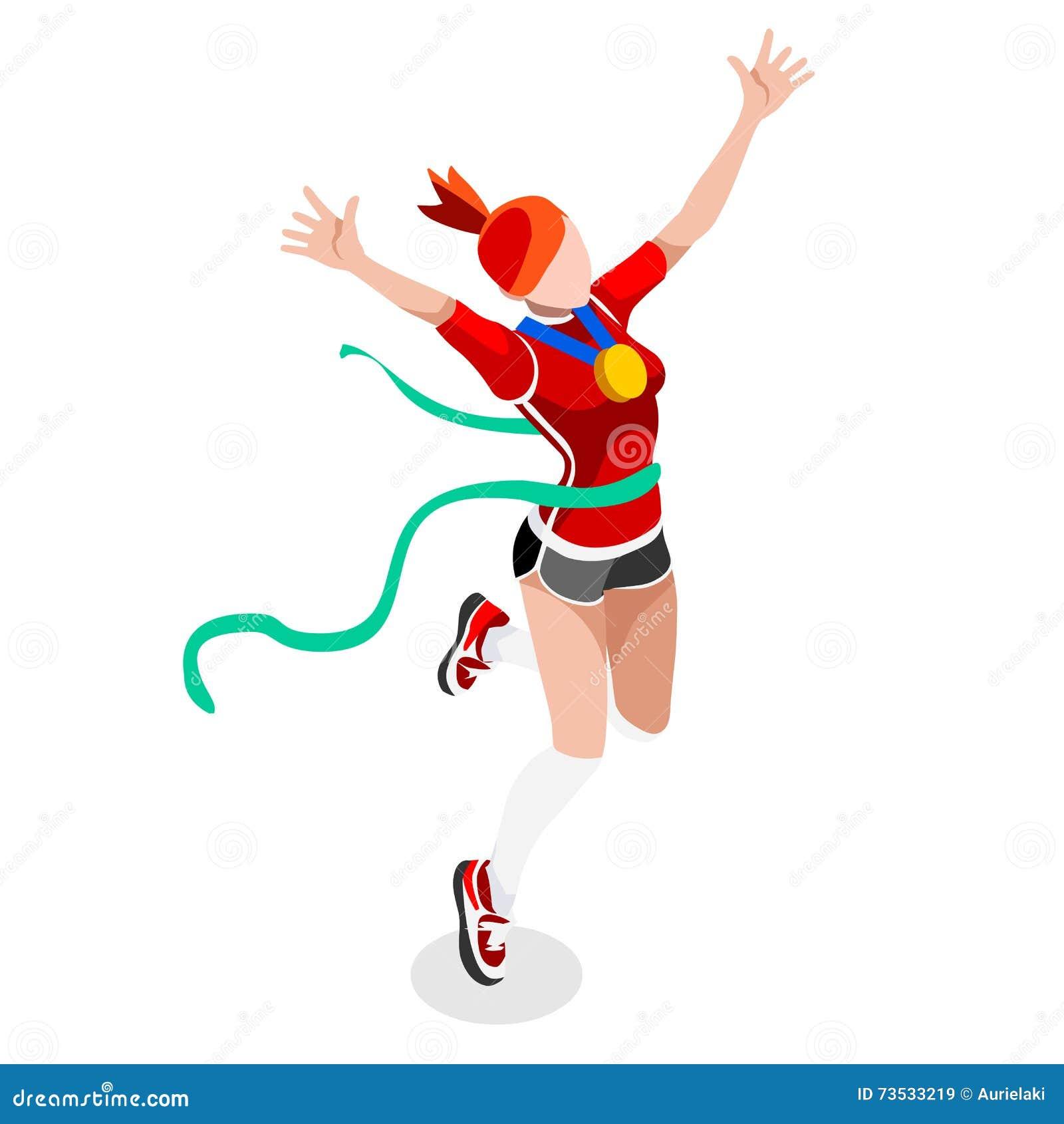 Działający Wygrany kobiet atletyka lata gier ikony set Wygrany pojęcie Olimpiad 3D wygrany biegacza Isometric atleta Sport atlety