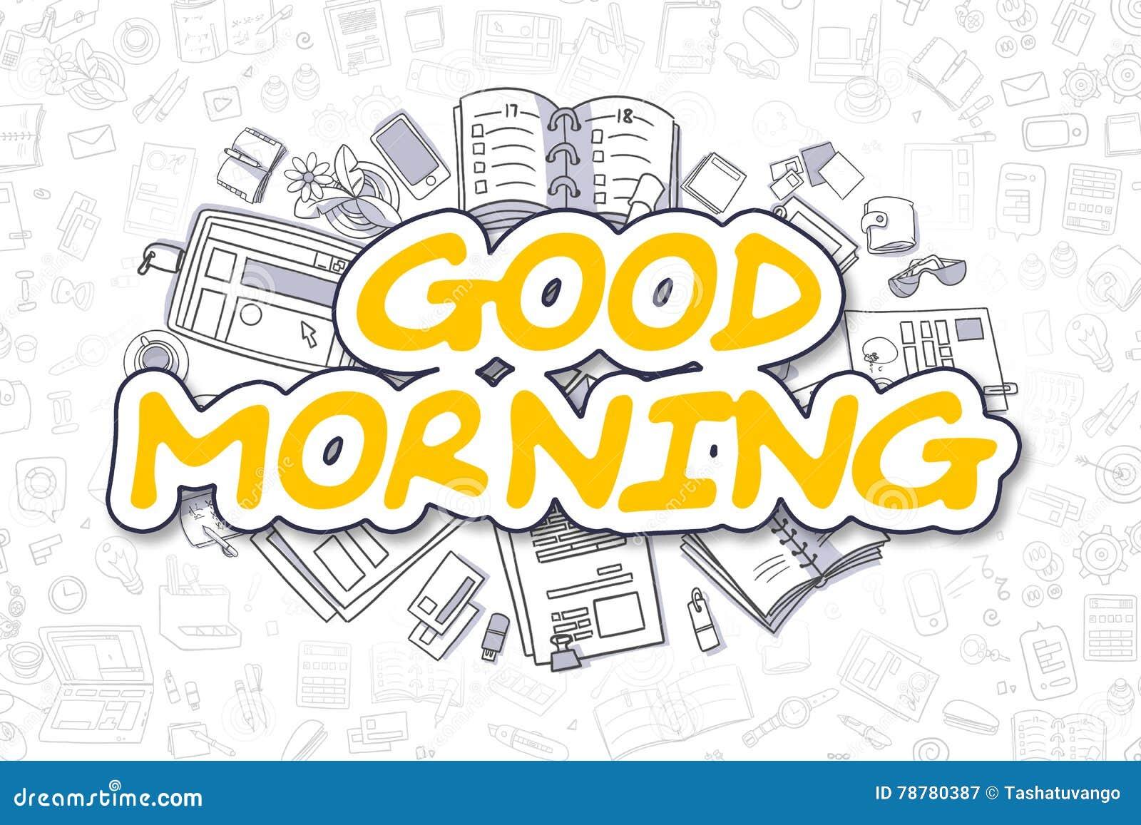 Dzień Dobry Doodle żółty Tekst Pojęcia Prowadzenia Domu