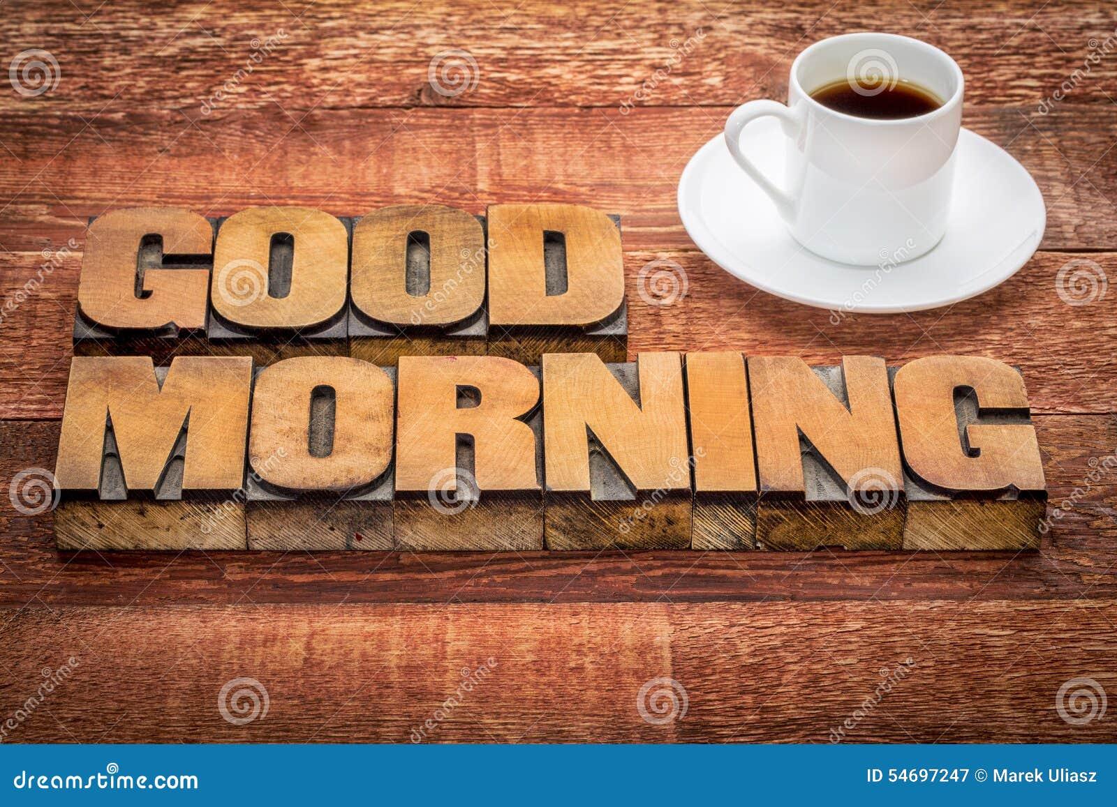Dzień dobry typografia z kawą