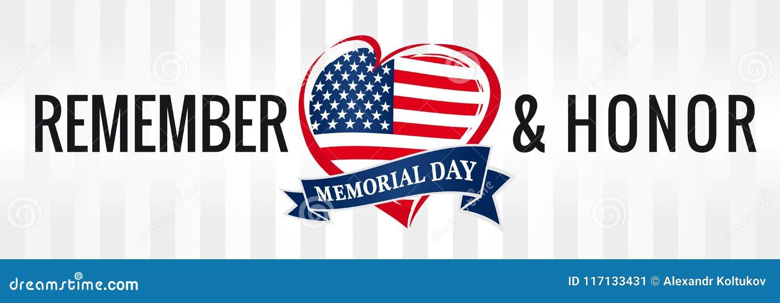 Dzień pamięci, pamięta & honoruje z usa flaga w kierowym sztandarze