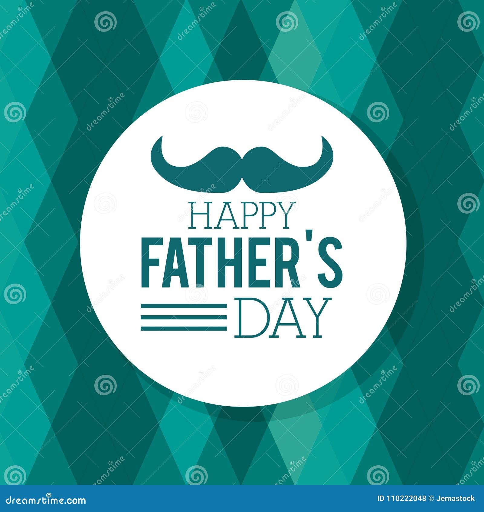 Dzień szczęśliwego ojcze kartka z pozdrowieniami wąsy geometryczny tło dekoruje