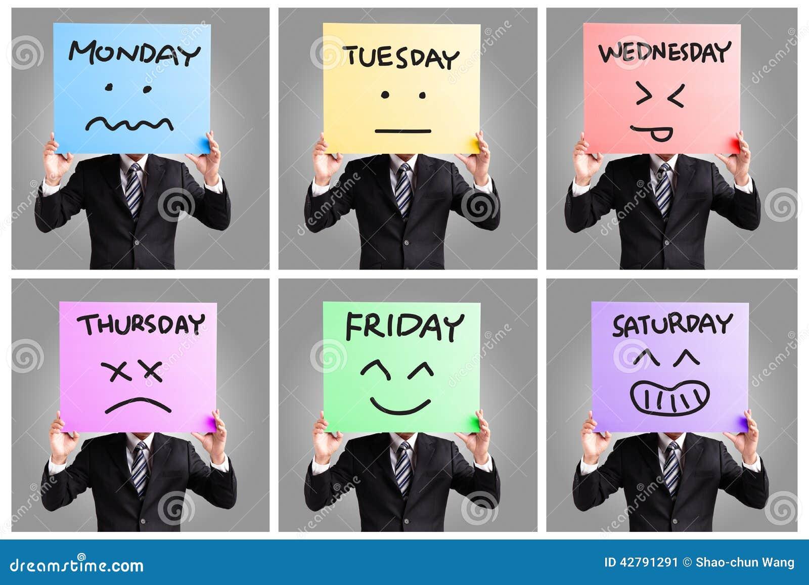 Dzień tydzień i twarzy wyrażenie