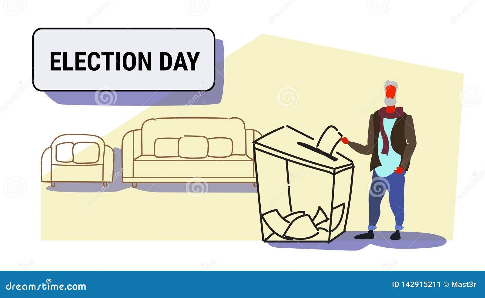 Dzień wyborów pojęcia mężczyzny starszy przypadkowy wyborca stawia papierowego tajnego głosowania listę w pudełku podczas głosowa