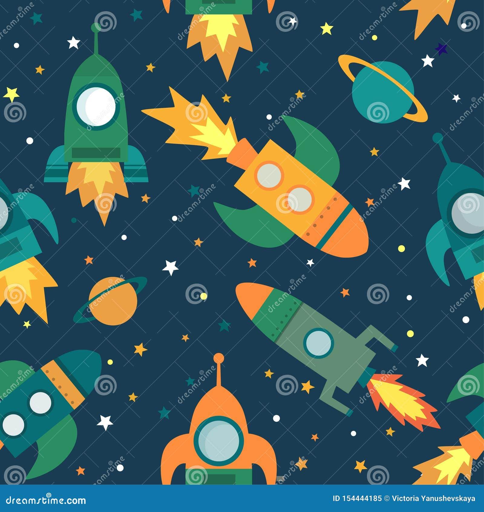Dziecięcy bezszwowy wzór z statkiem kosmicznym, gra główna rolę, planetuje i gra główna rolę,