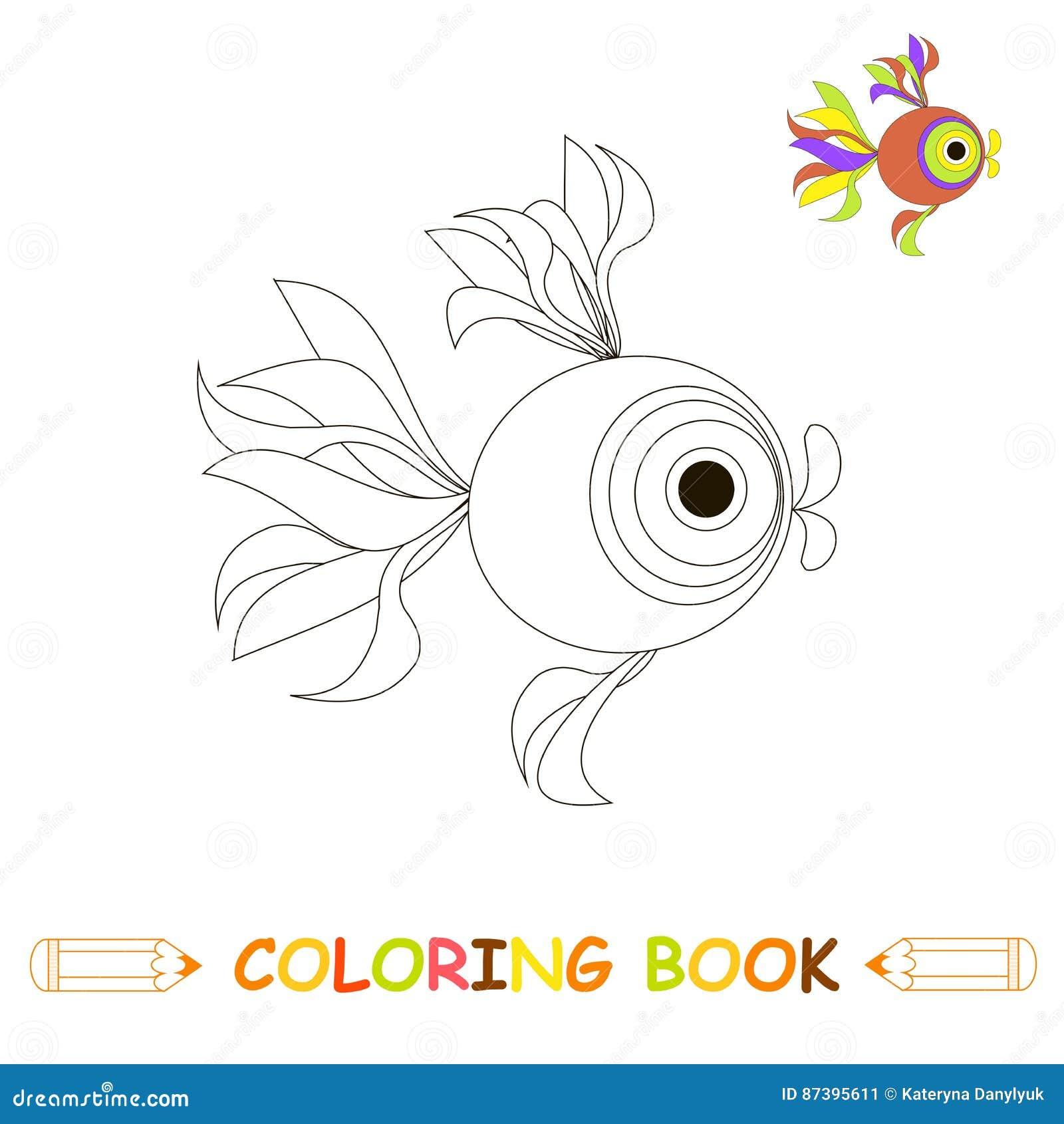 Dzieci barwi strony wektorową ilustrację, śliczną ryba w monochromu i colour wersi dla dzieciaków,