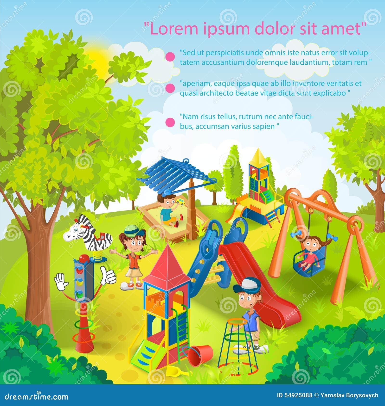 Dzieci bawić się w parkowym wektorze