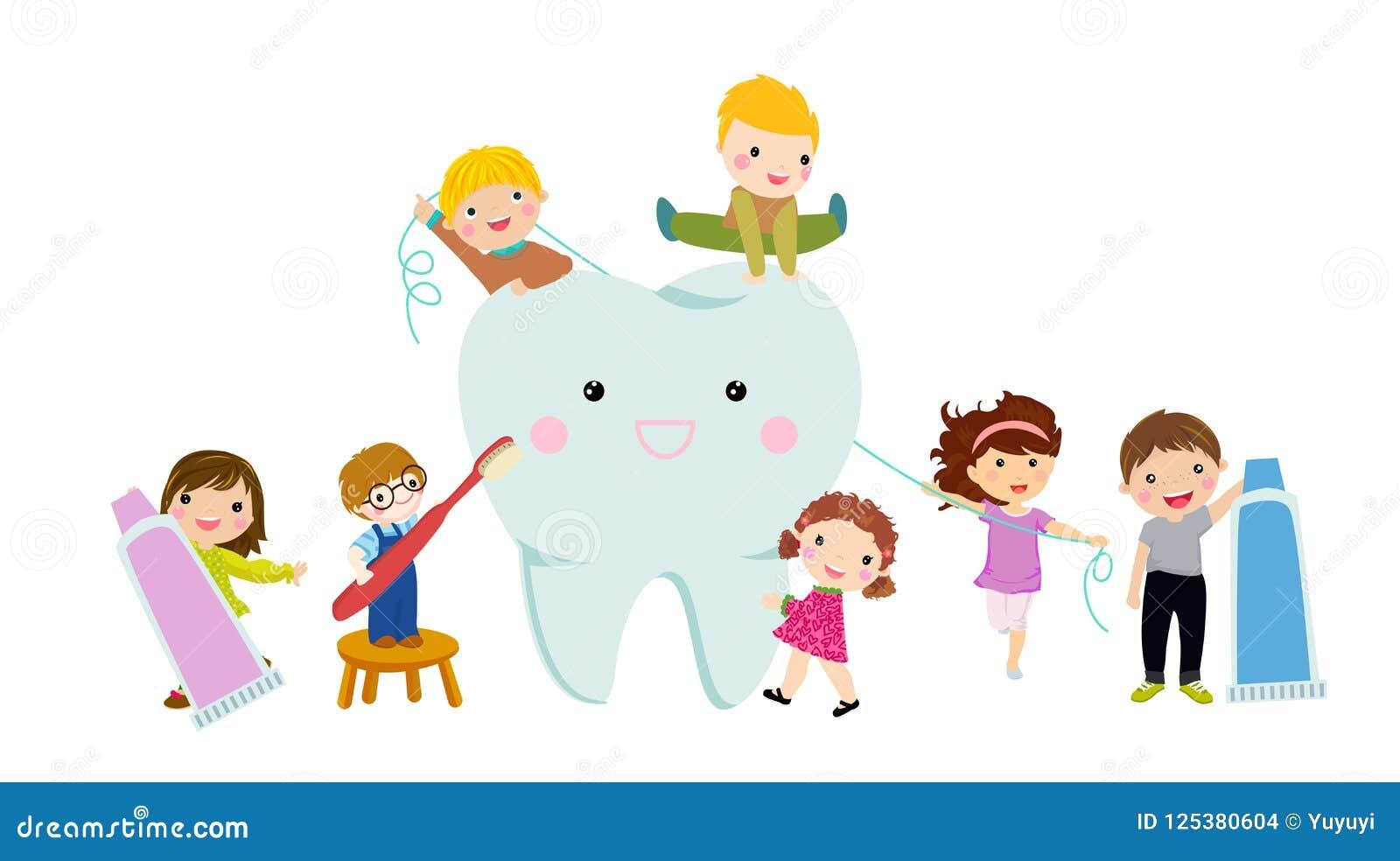 Dzieci czyści zęby z toothbrush