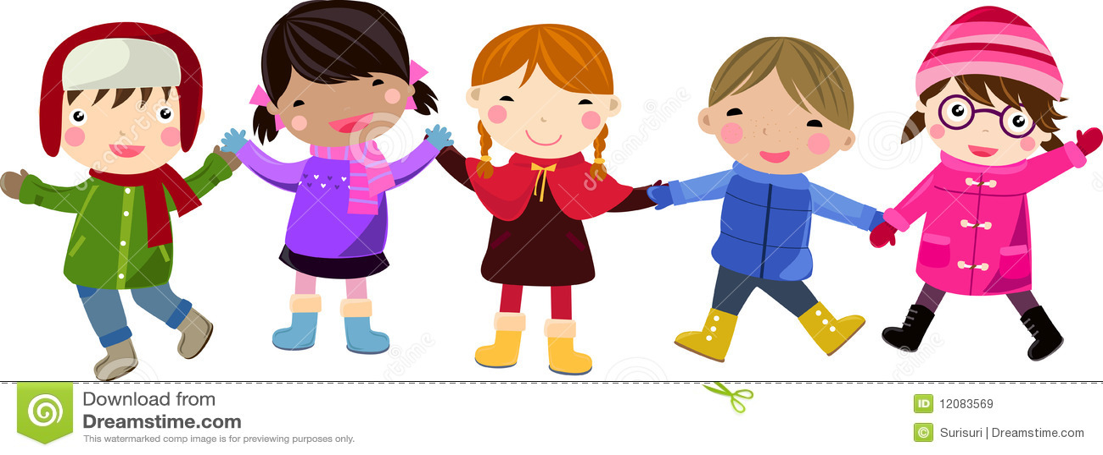 Dzieci grupują szczęśliwego