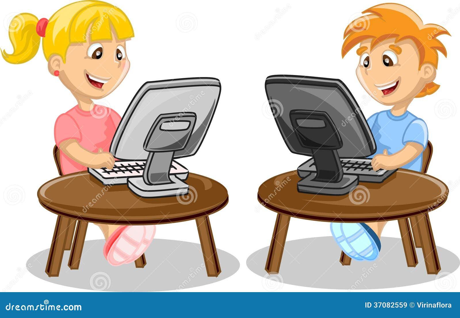 Download Dzieci i komputer ilustracja wektor. Ilustracja złożonej z odosobniony - 37082559
