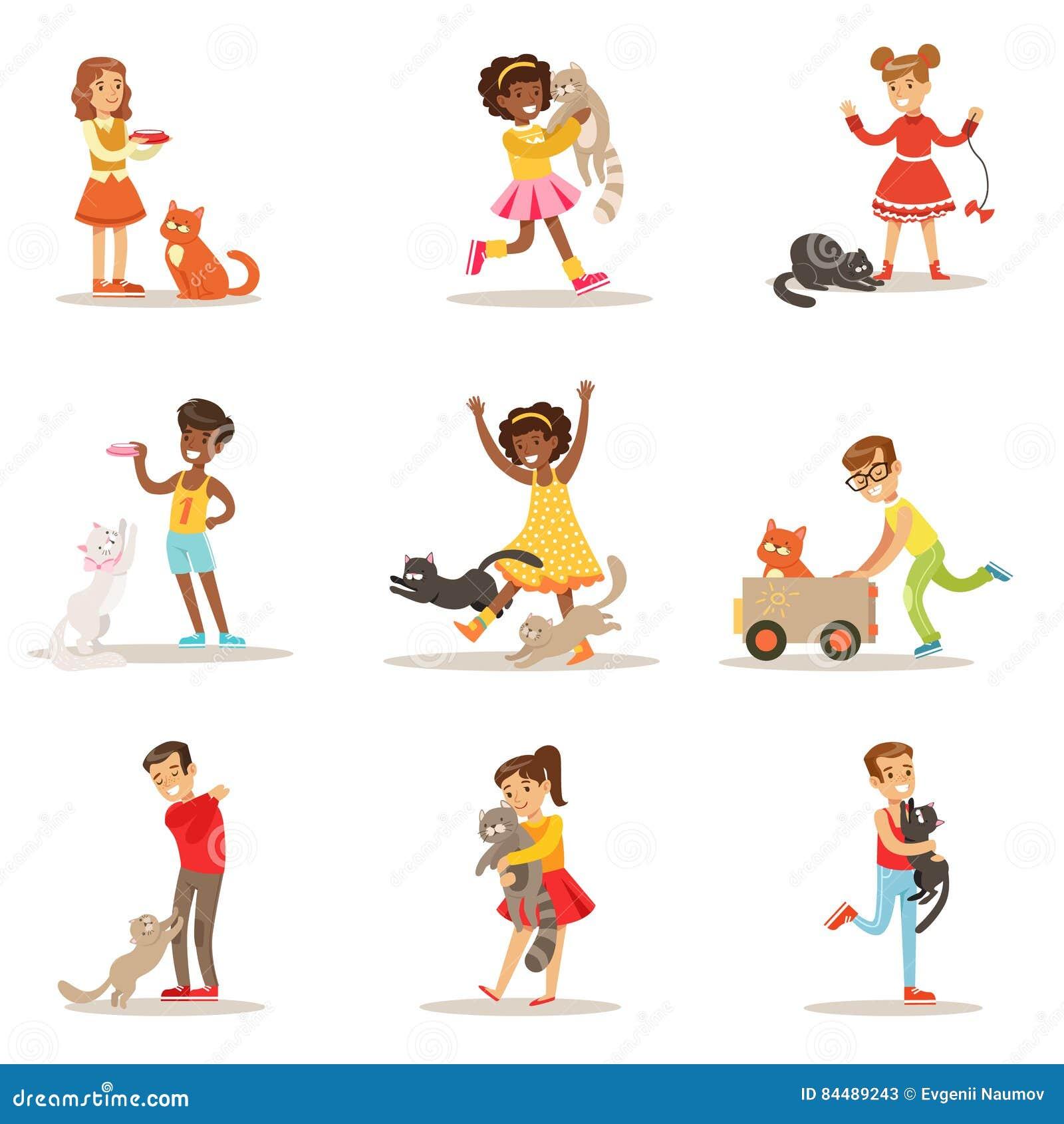 Dzieci I kotów ilustracje Ustawiać Z dzieciakami