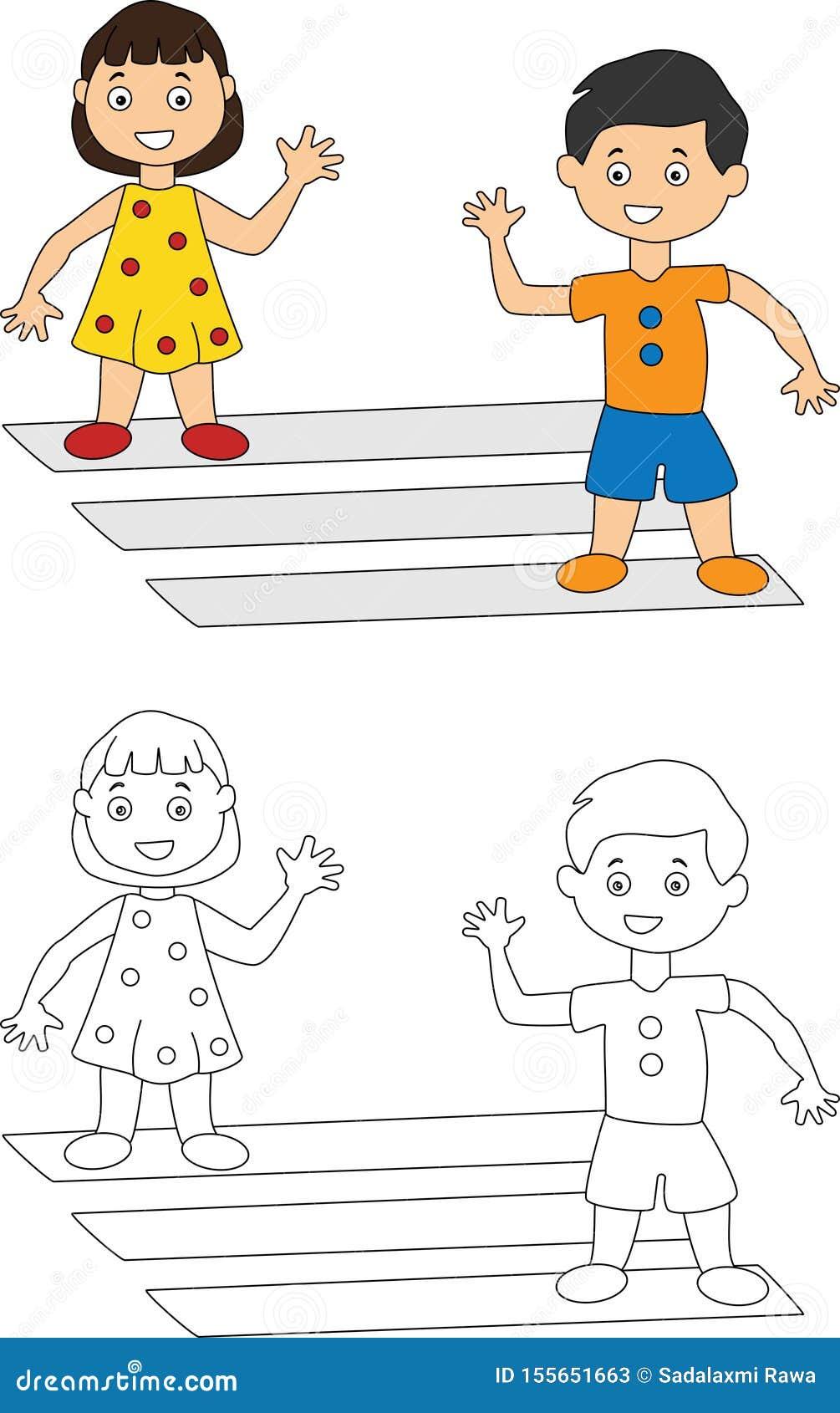 Dzieci macha przy each inn? kolorystyki stron?