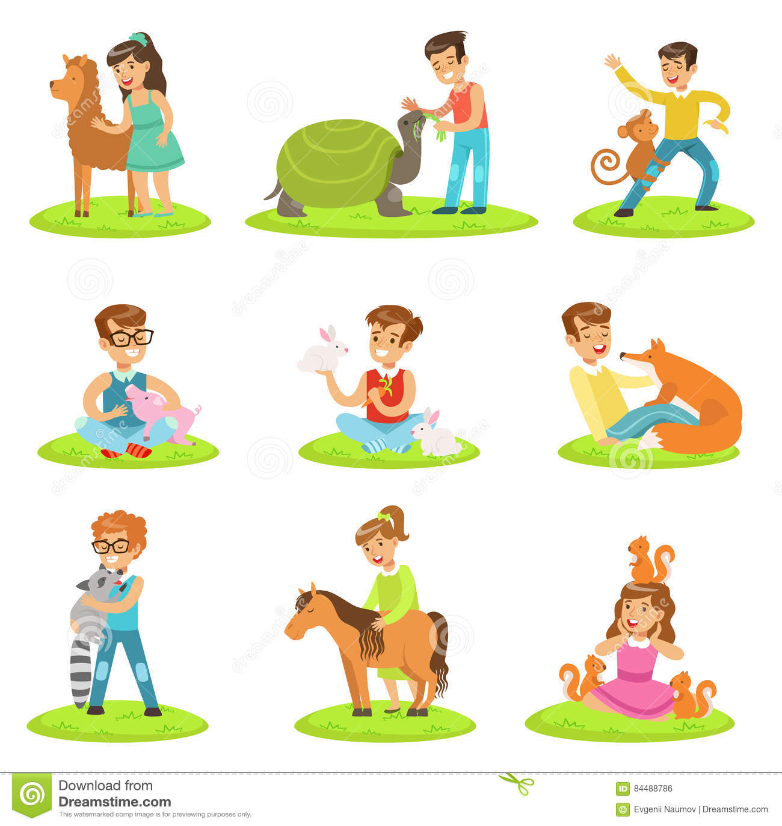 Dzieci Migdali Małych zwierzęta W Migdalić zoo kolekcję kreskówek ilustracje Z dzieciakami Ma zabawę