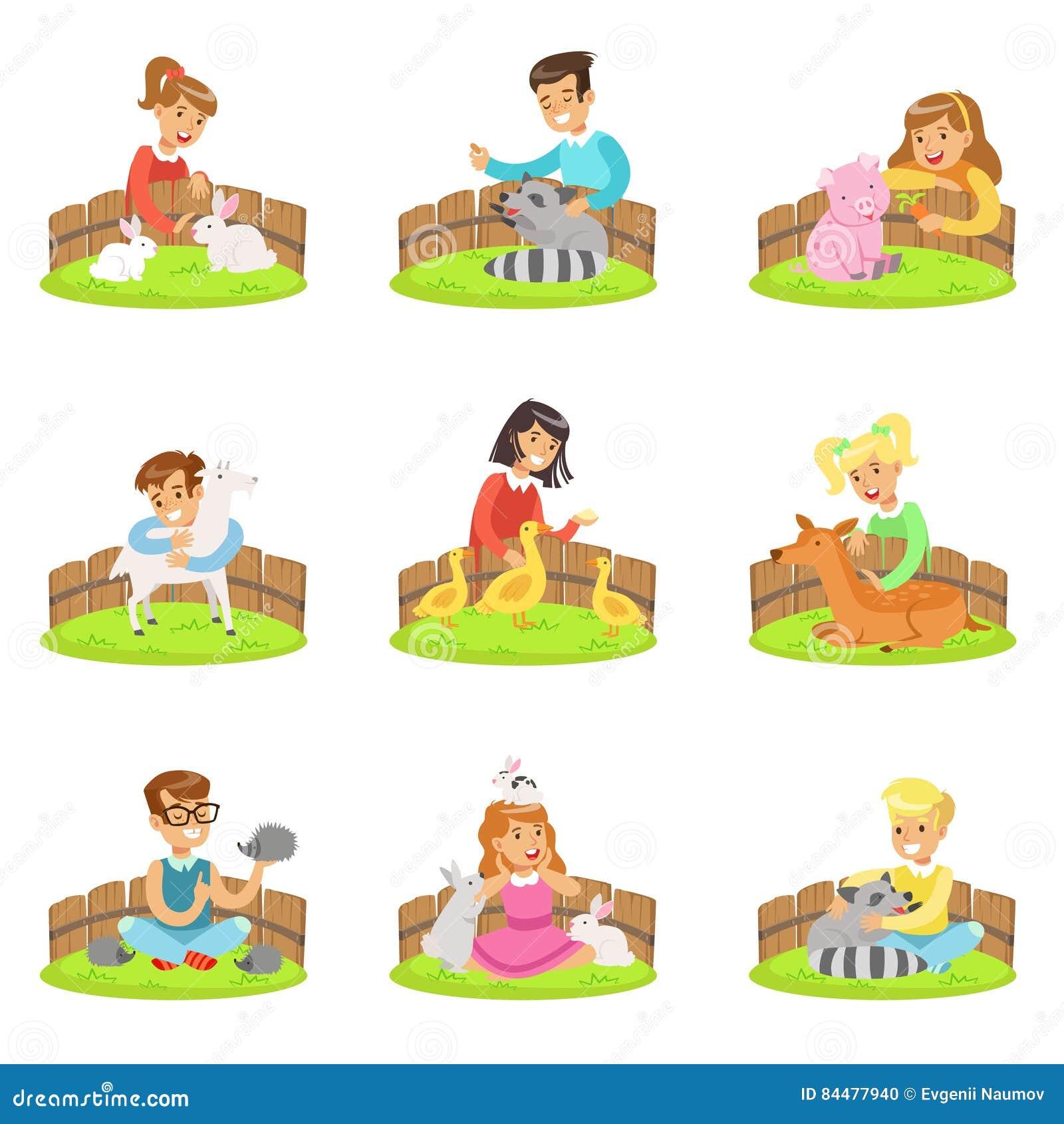 Dzieci Migdali Małych zwierzęta W Migdalić zoo Ustawiającego kreskówek ilustracje Z dzieciakami Ma zabawę