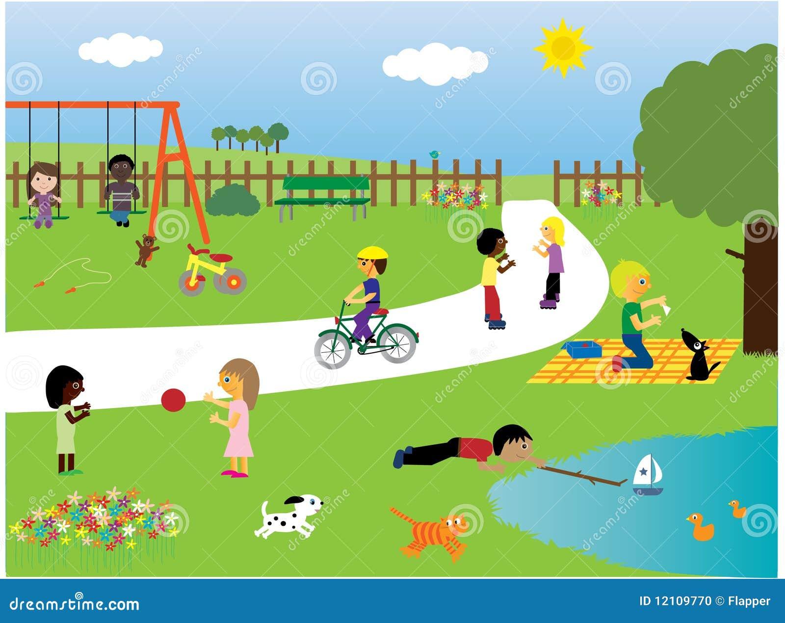 Dzieci parkują bawić się
