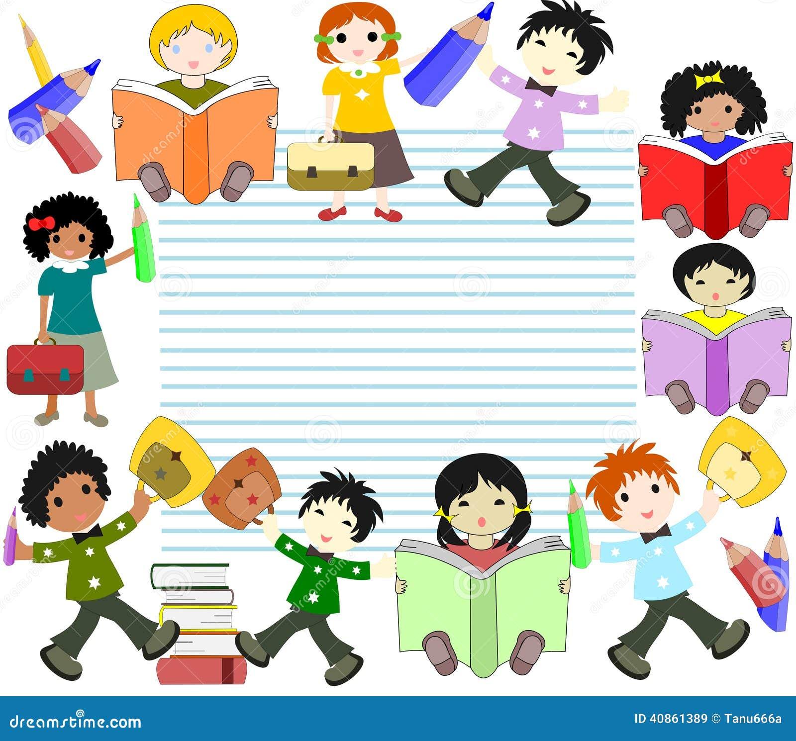 Dzieci różne rasy czytać książki i iść szkoła