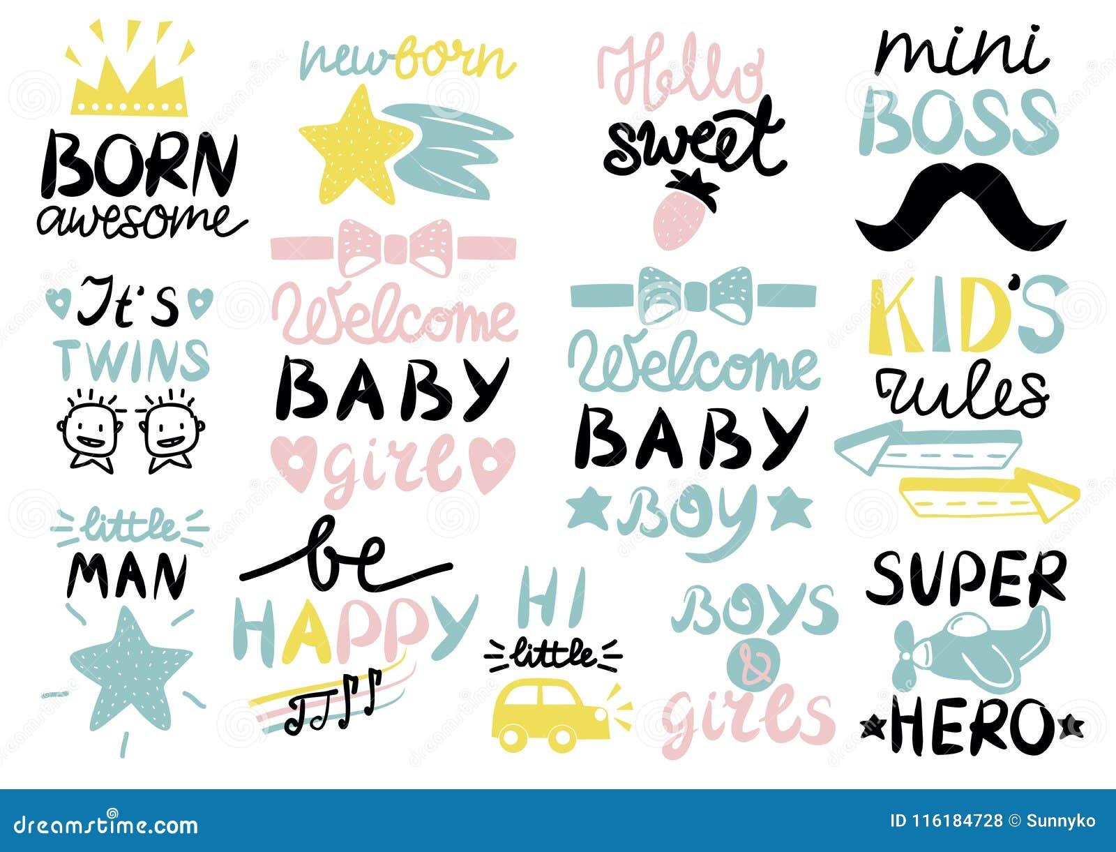 13 dzieci s logo z handwriting wspaniałym, Mile widziany dzieckiem Urodzonym, Żartuje reguły, dziewczyny i chłopiec, Byli szczęśl