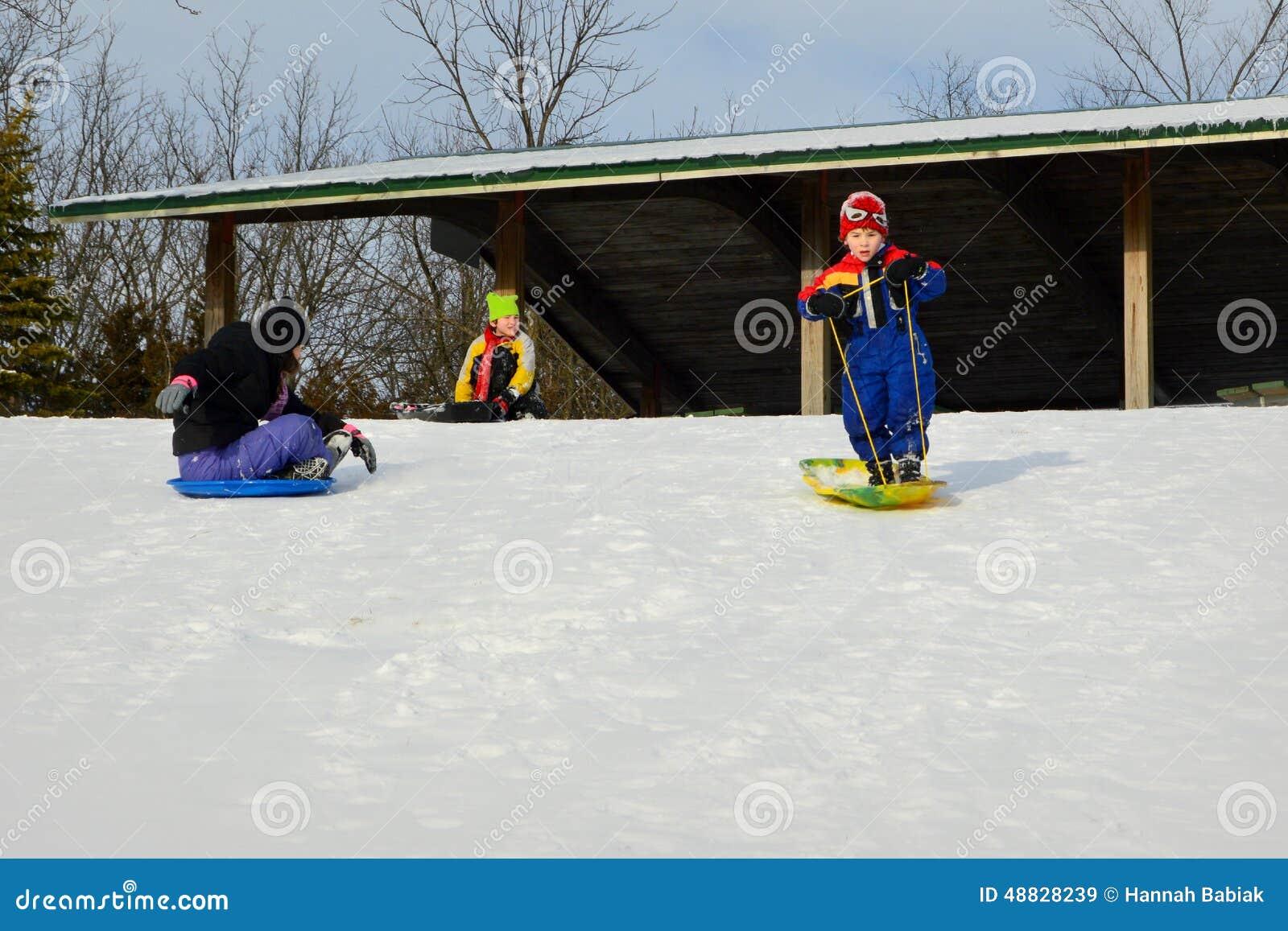 Dzieci Sledding Przy milenium parkiem
