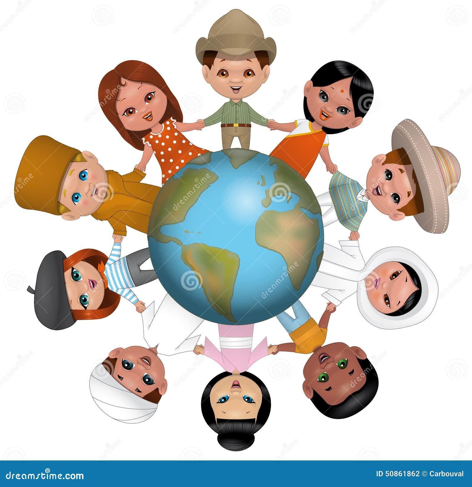 Dzieci trzyma ręki dookoła świata