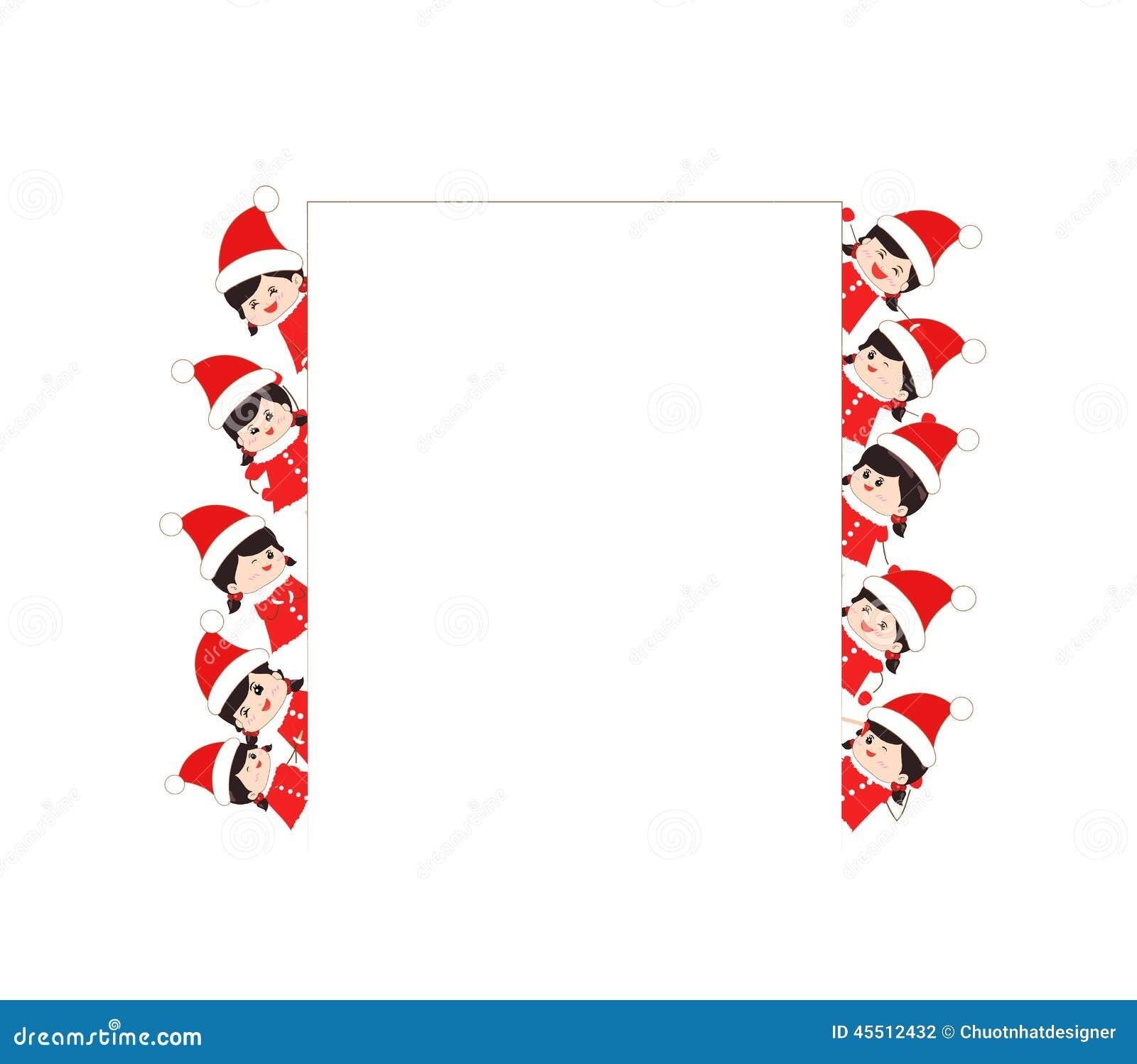 Dzieci ubierający jako Santa Claus rama i dzieciaki