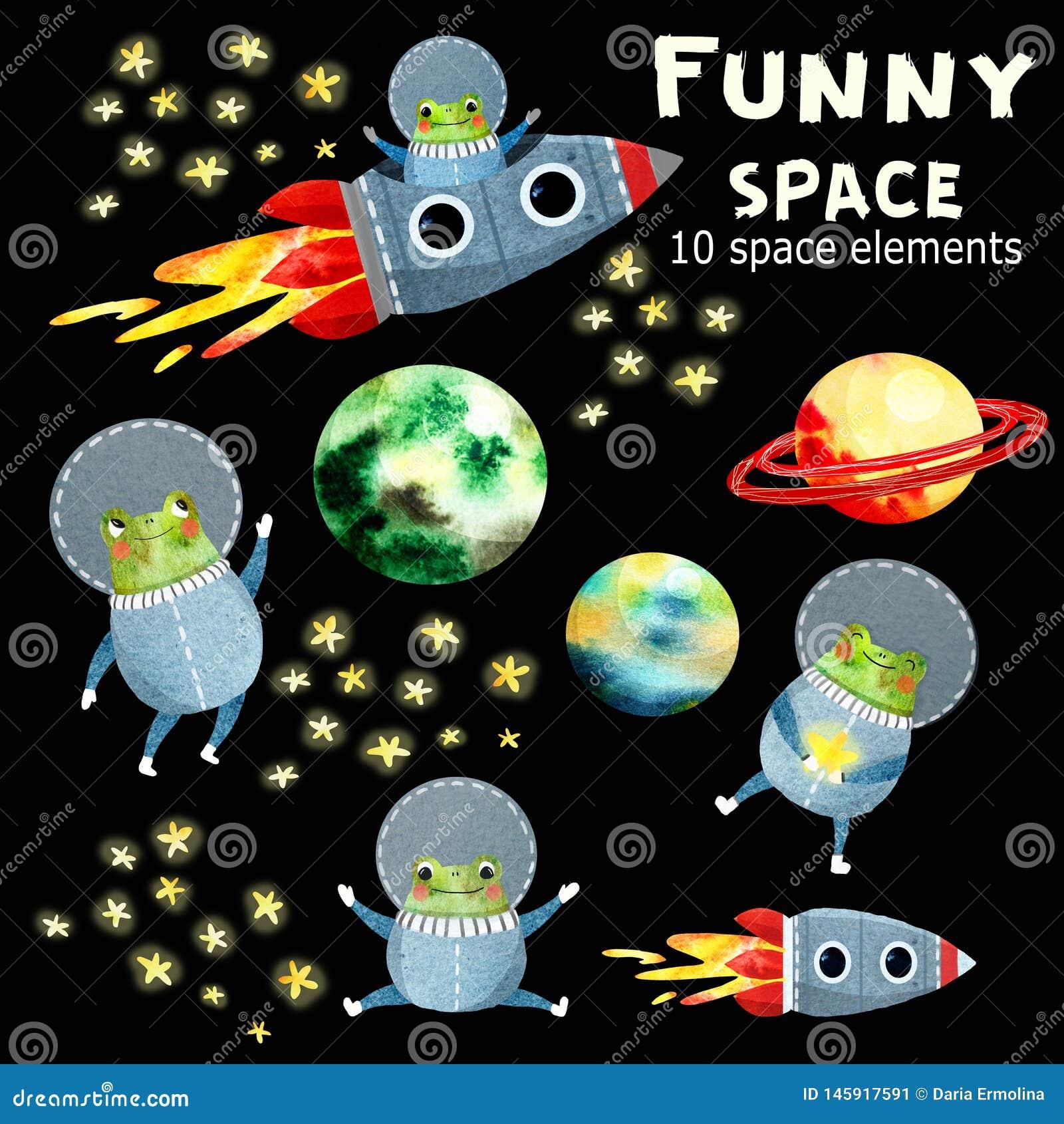 Dzieci ustawiający z planetami i rakietą
