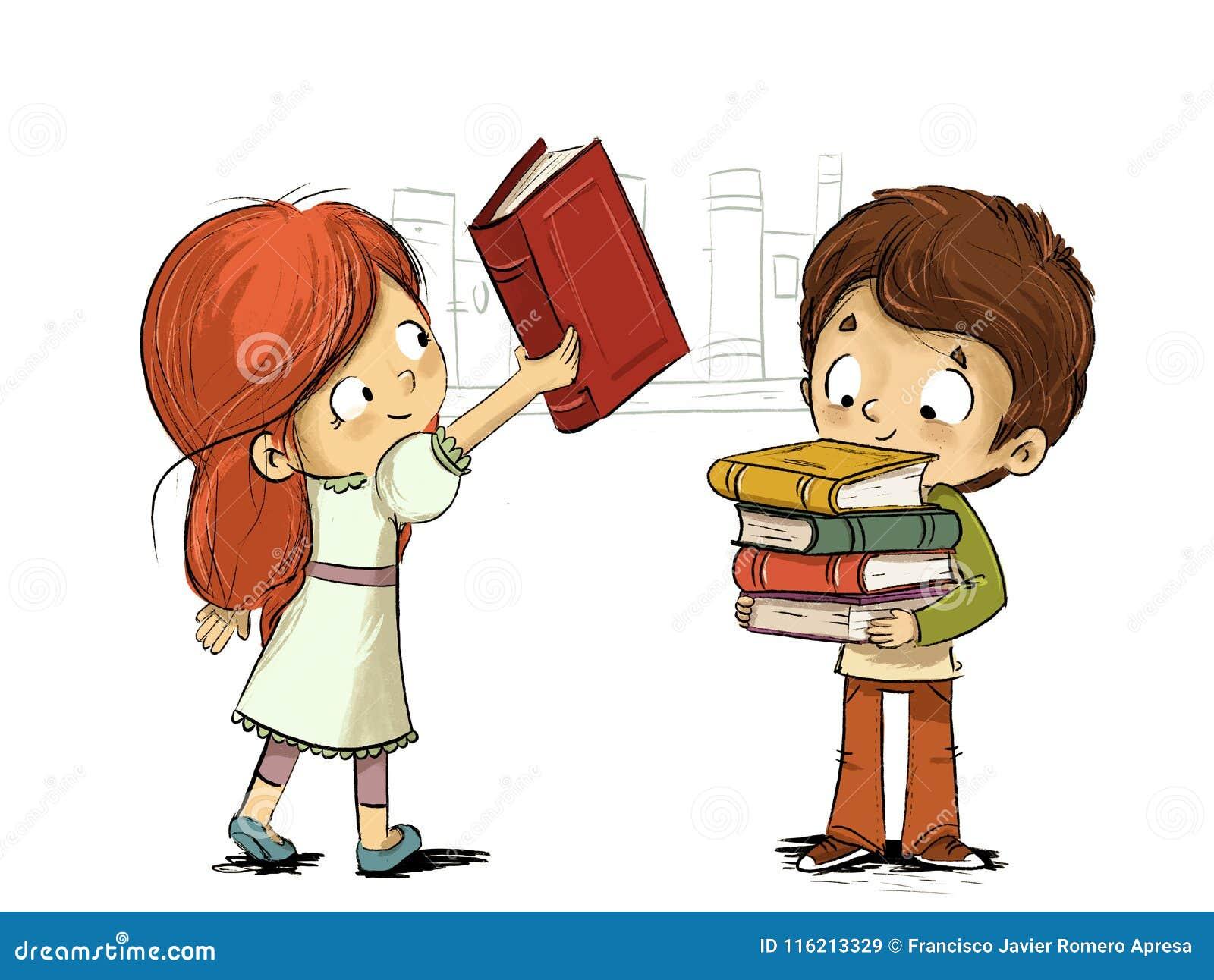 Dzieci z książkami w bibliotece
