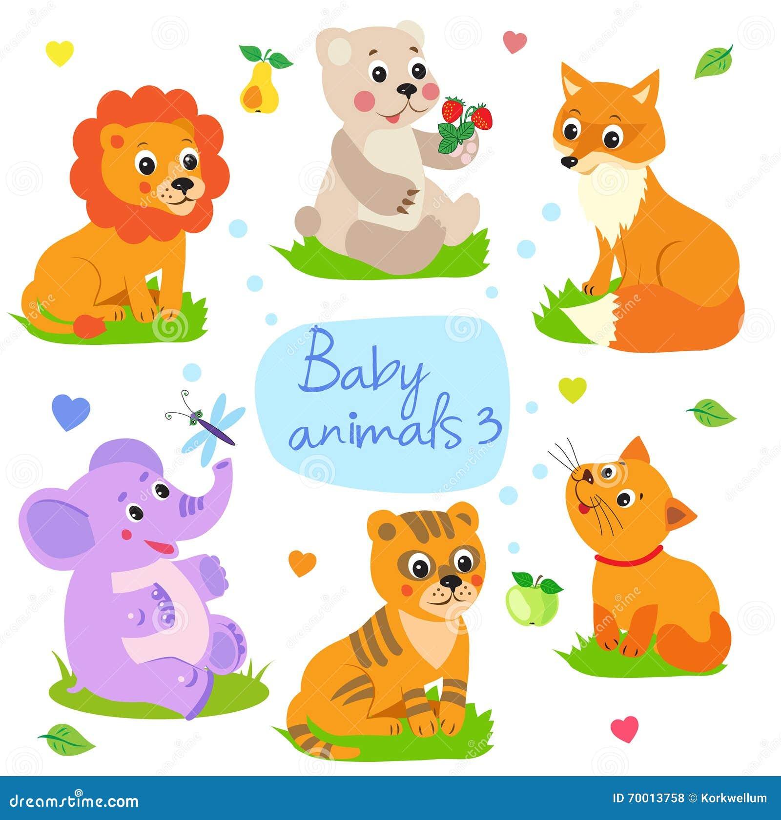 Dzieci zwierzęta: Lew, niedźwiedź, Fox, słoń, tygrys, kot Ustawia charakteru wektoru ilustrację