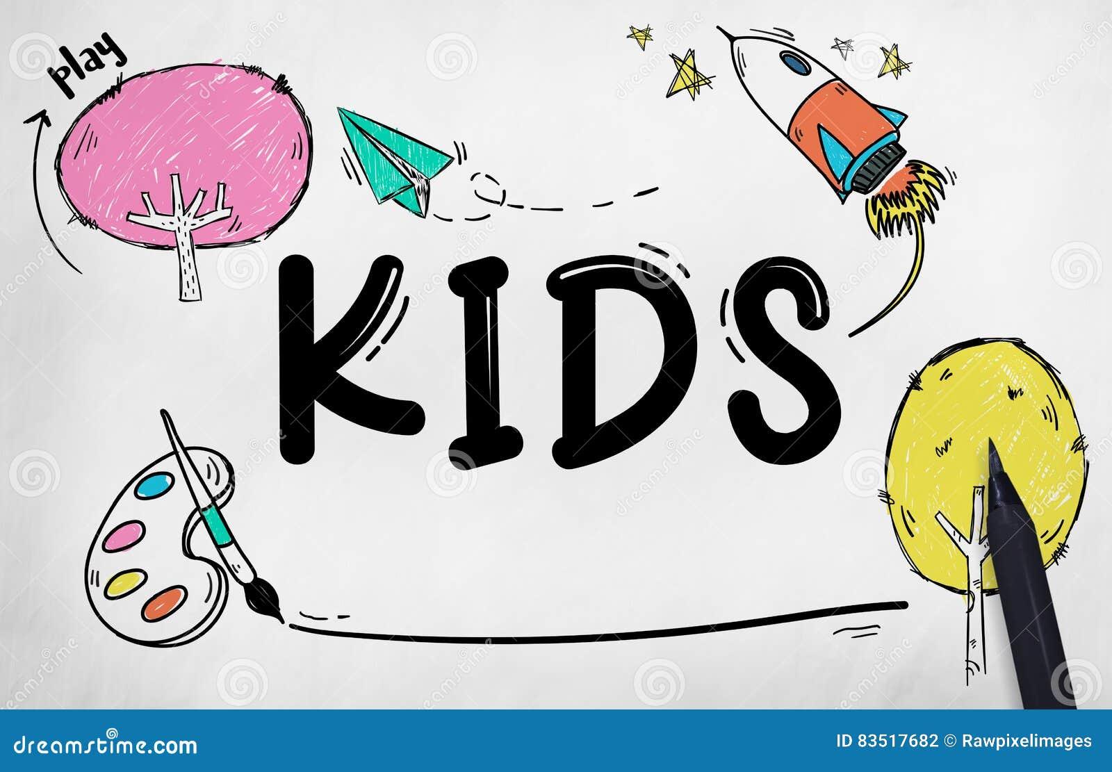 Dzieciaków dzieci dzieciństwa wyobraźni pojęcie