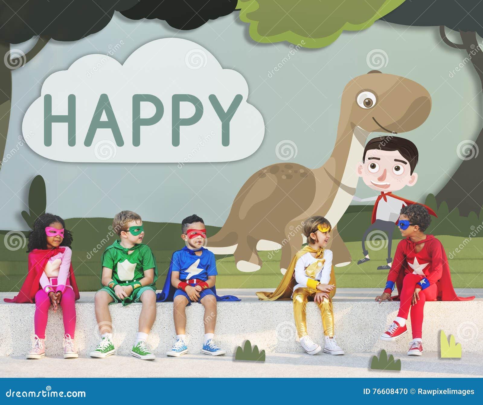 Dzieciaków dzieci dzieciństwa wyobraźni Szczęśliwy pojęcie