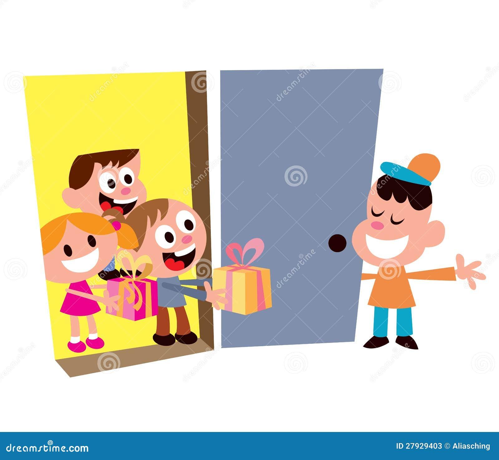 Dzieciaków przyjęcia powitania goście