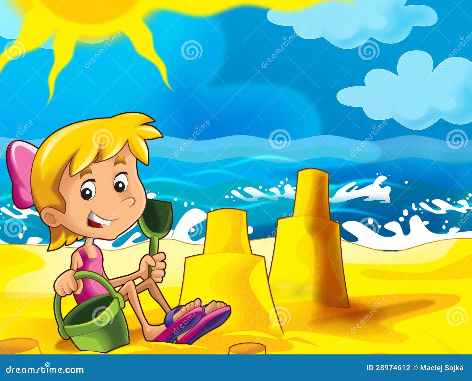 Dzieciak bawić się na plaży