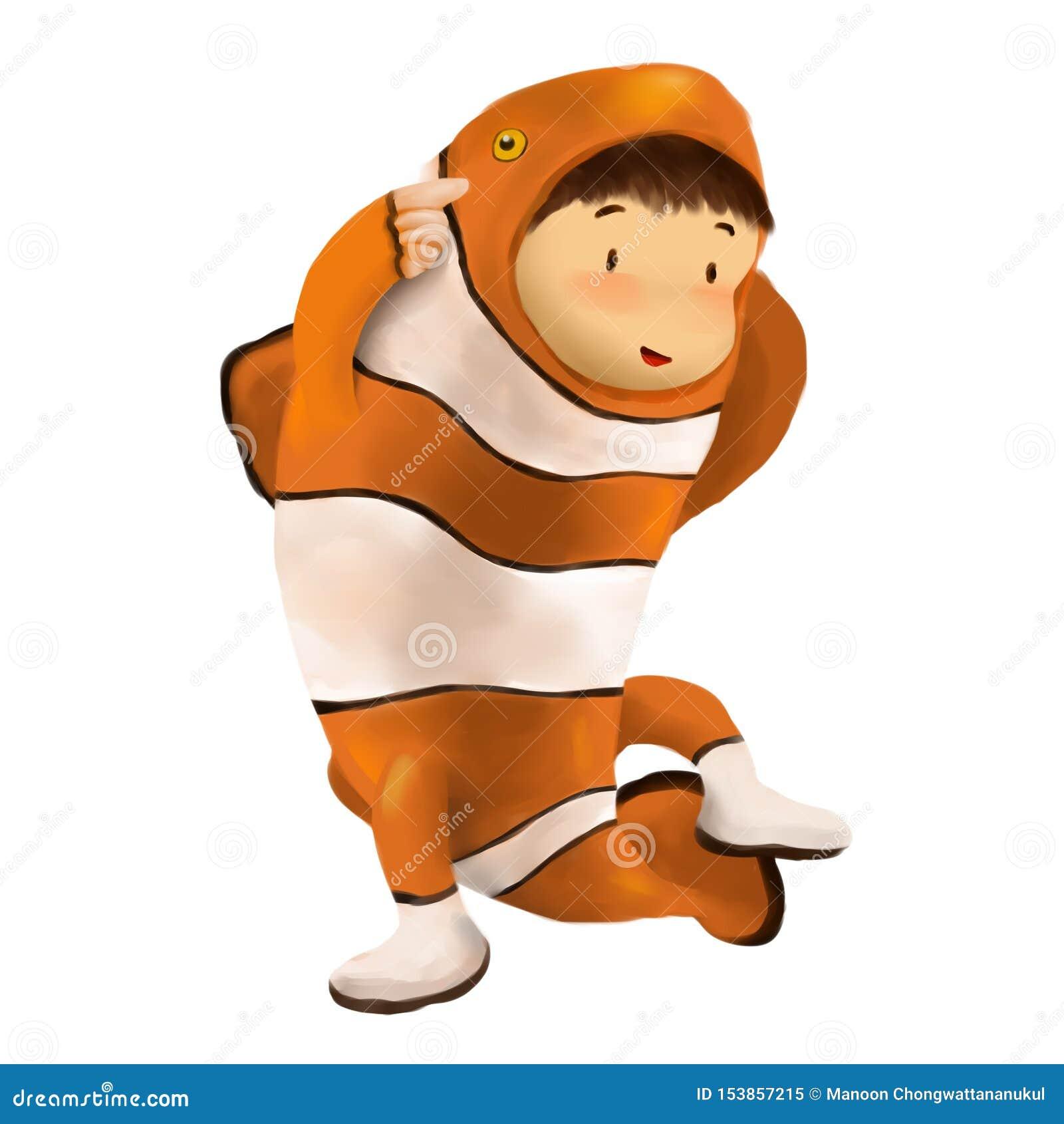 Dzieciak suknie w błazen ryby kostiumu