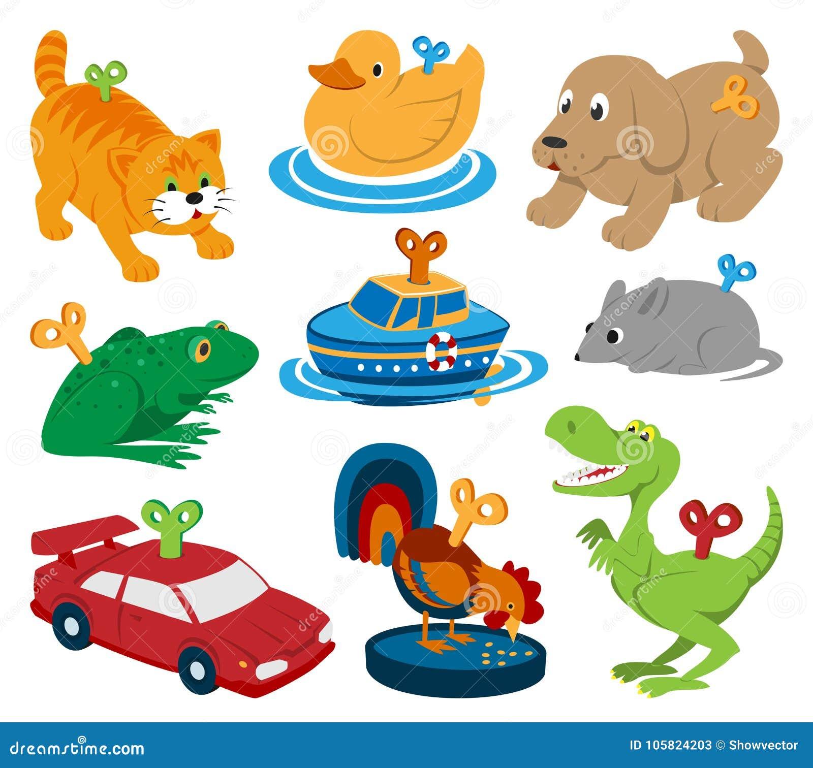 Dzieciak zabawek clockwork klucza mechanizmu mechanika kreskówki wektorowi zwierzęta w toyshop dla dziecko zegaru pracują samochó