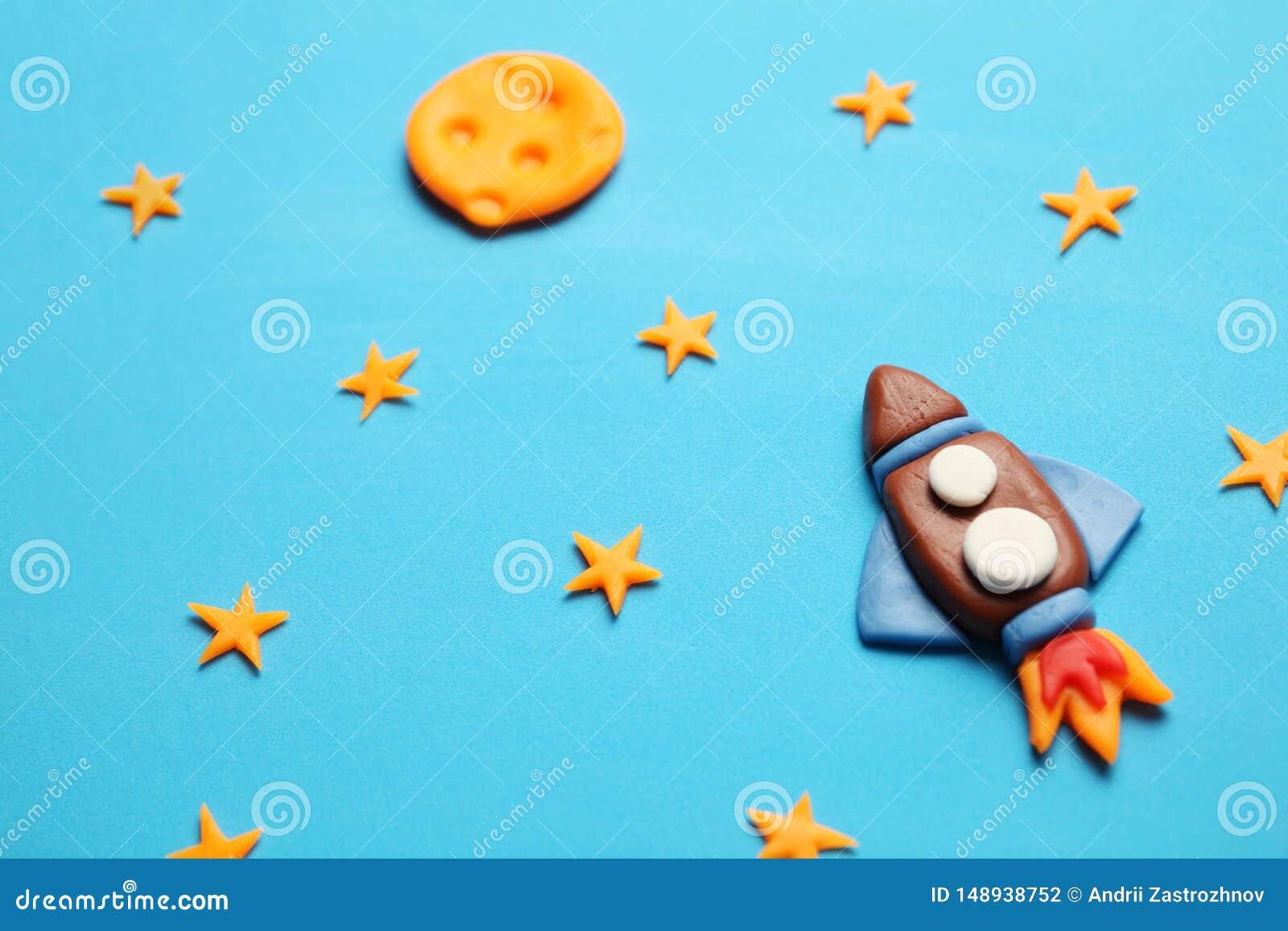 Dzieciaka dziecka rakieta w przestrzeni, przygodzie i nauce, Gwiazdy i ksi??yc, Plasteliny sztuka, kresk?wka