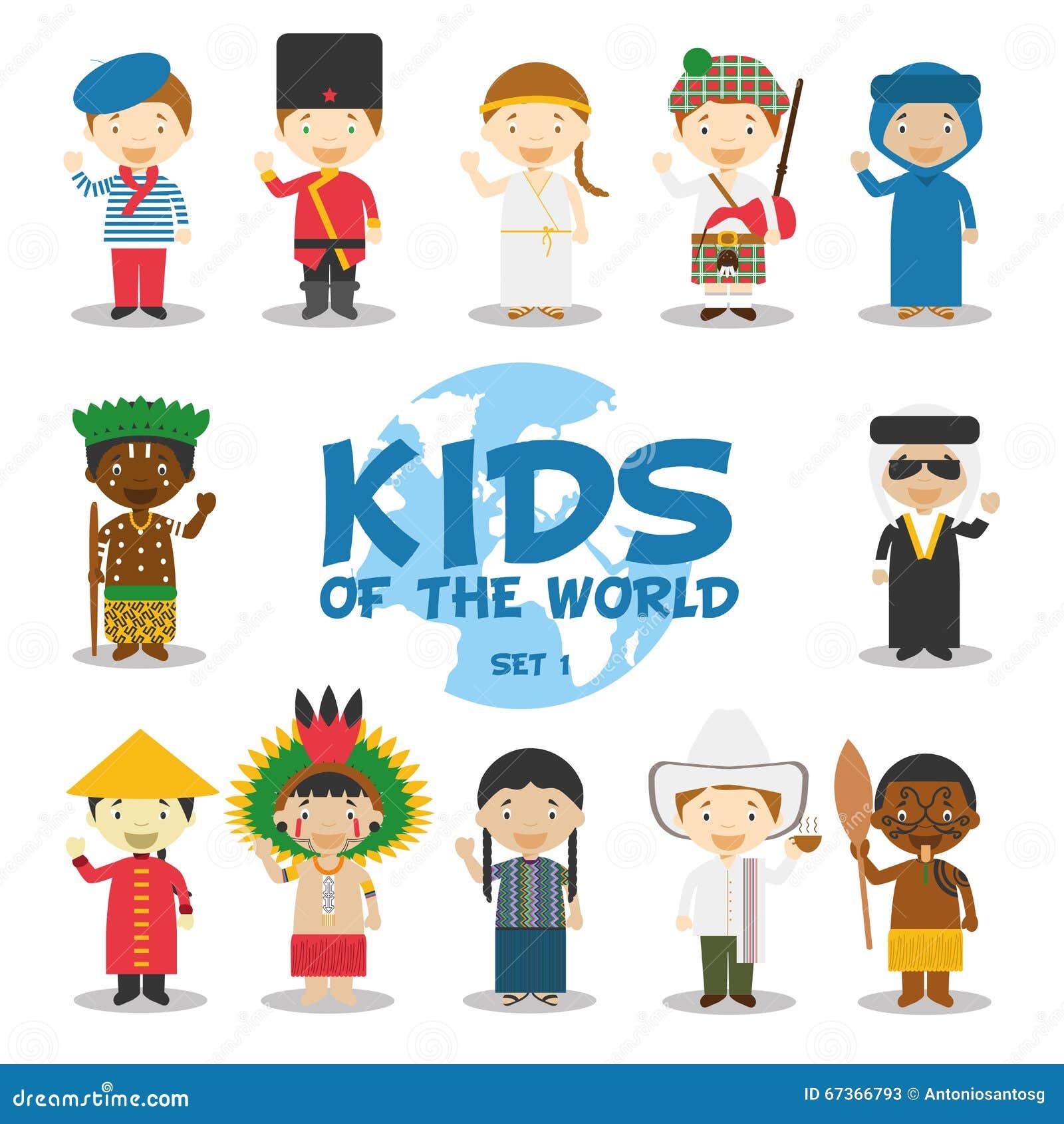 Dzieciaki światowa ilustracja: Narodowości Ustawiają 1 Set 12 charakteru ubierał w różnych krajowych kostiumach
