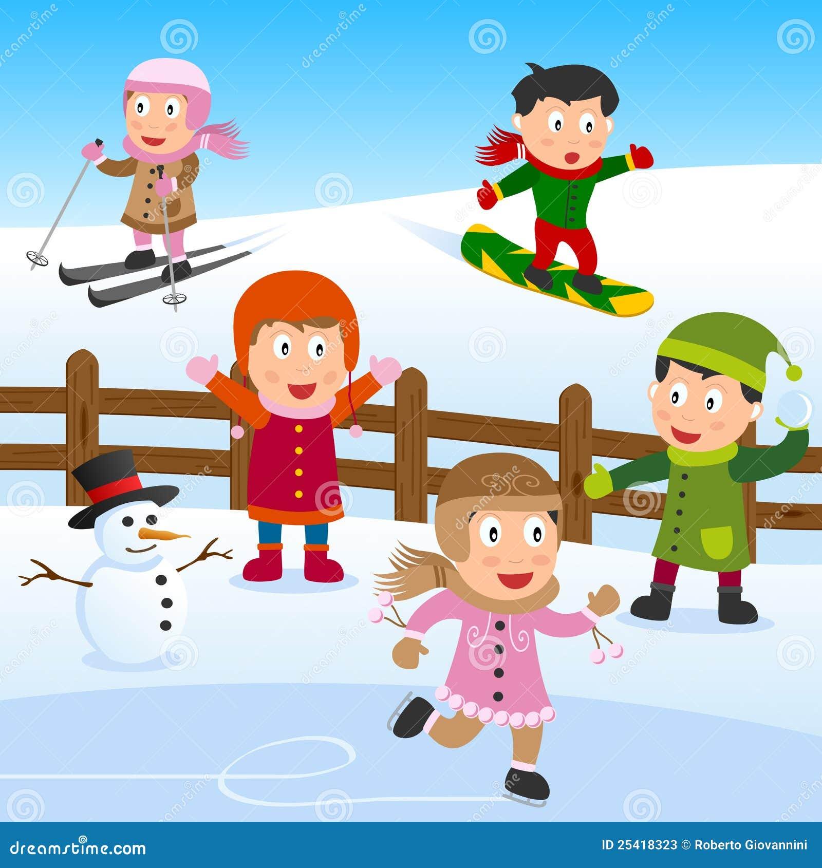 Dzieciaki bawić się śnieg
