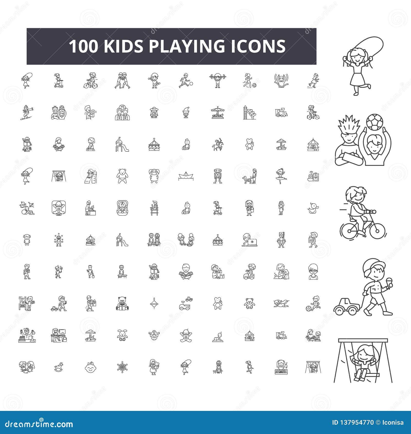 Dzieciaki bawić się editable kreskowe ikony, 100 wektorów set, kolekcja Dzieciaki bawić się czarne kontur ilustracje, znaki, symb