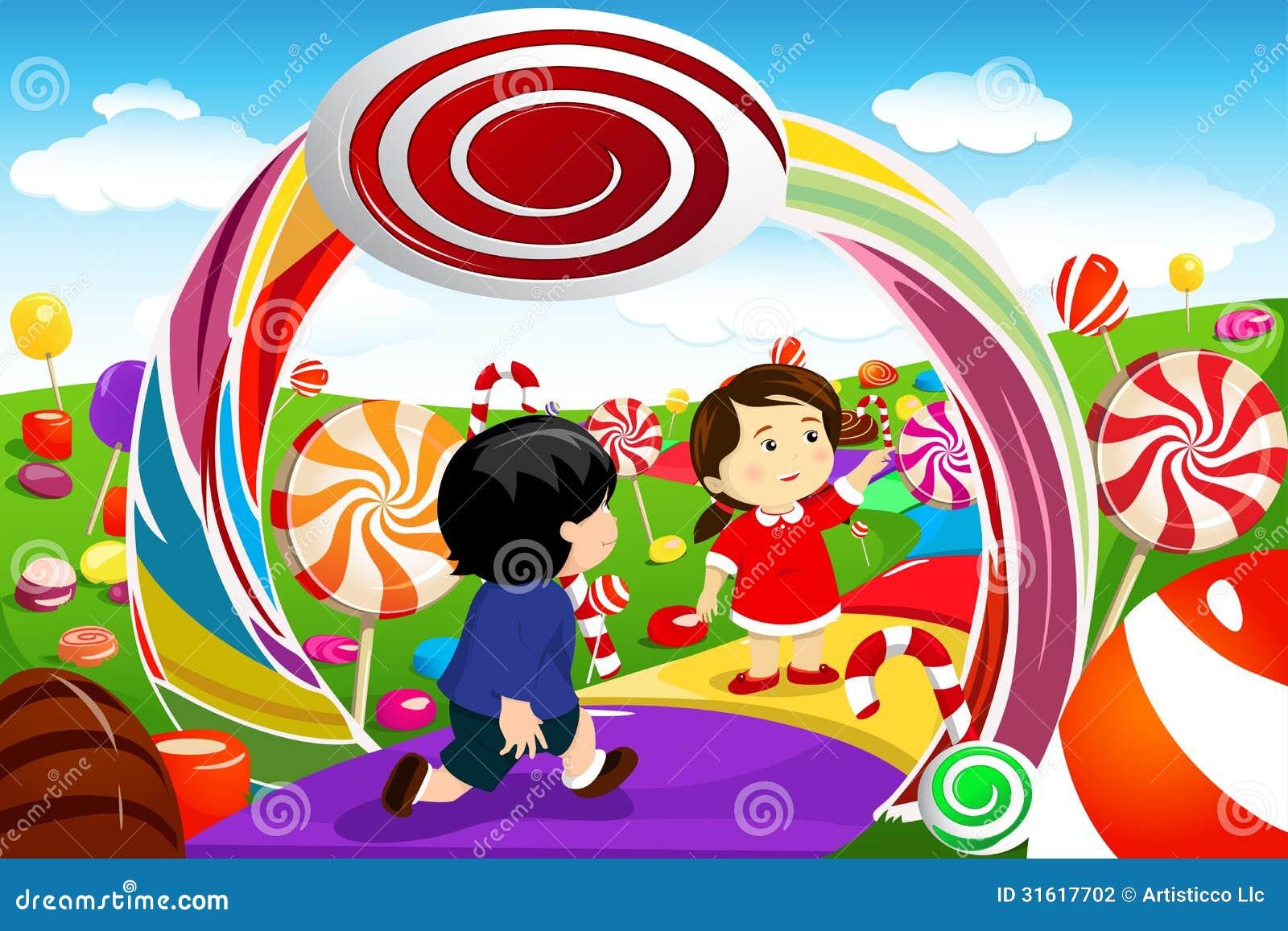 Dzieciaki bawić się w cukierek ziemi