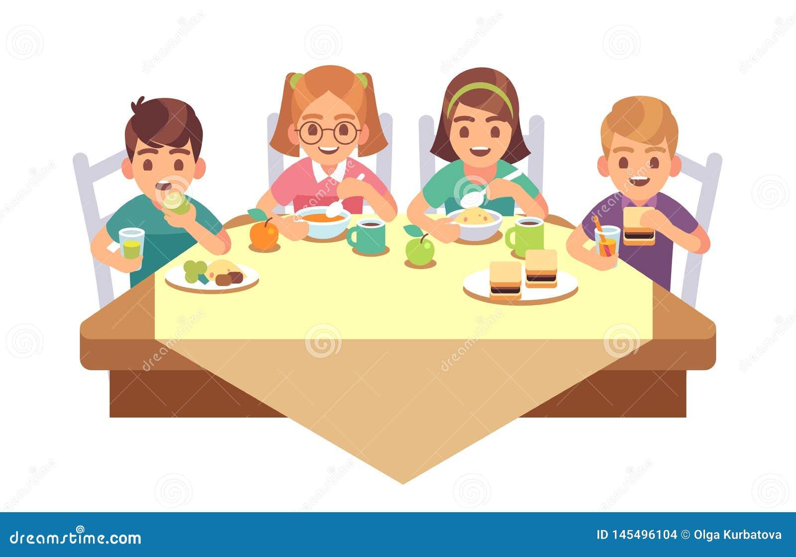 Dzieciaki jedzą wpólnie Dzieci je obiadowego cukiernianego restauracyjnego szczęśliwego dziecka lunchu śniadaniowego fast fo