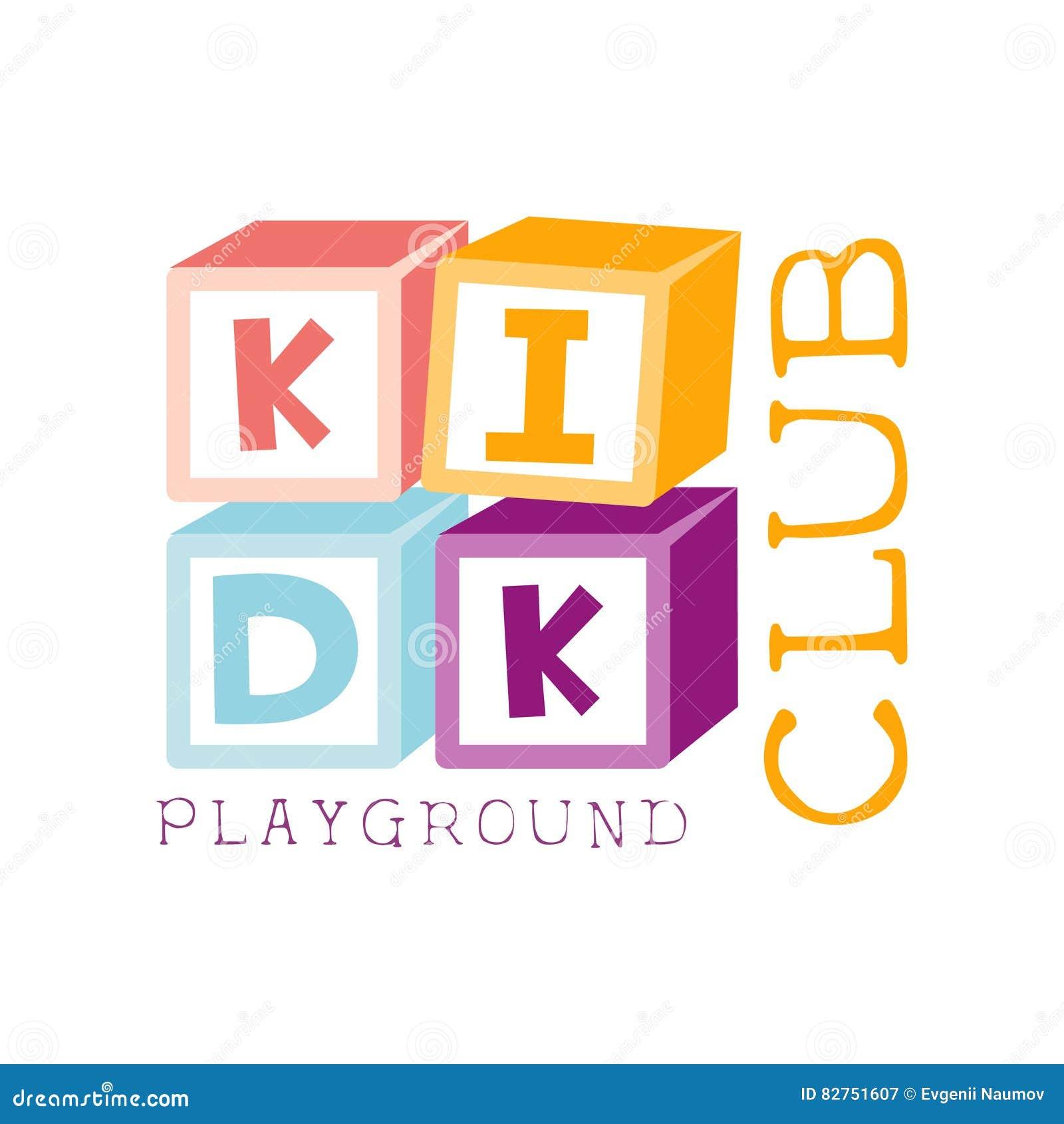 Dzieciaki Lądują boisko I rozrywki Promo Świetlicowego Kolorowego znaka Z sześcianu konstruktorem Dla Bawić się przestrzeni Dla