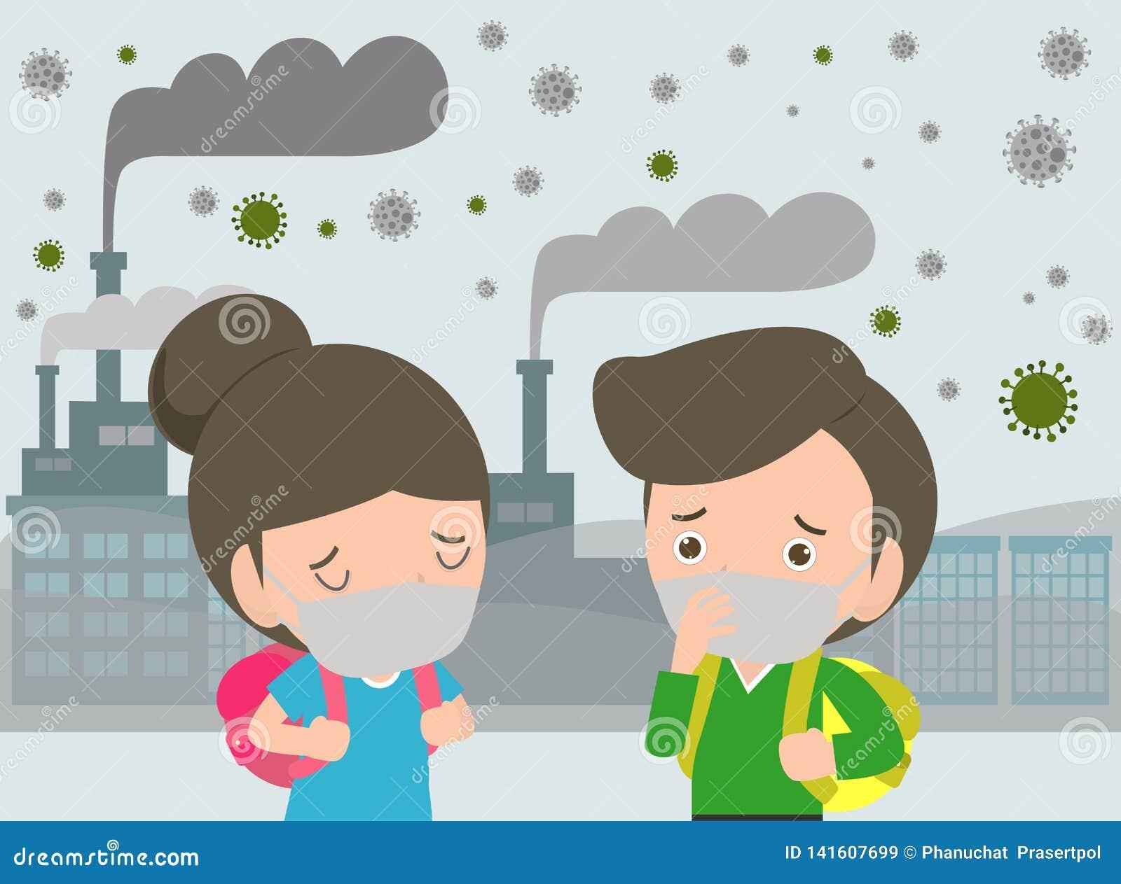 Dzieciaki w maskach przez świetnego pyłu PM 2 5, chłopiec i dziewczyna jest ubranym maskę przeciw smogowi, Świetny pył, zanieczys