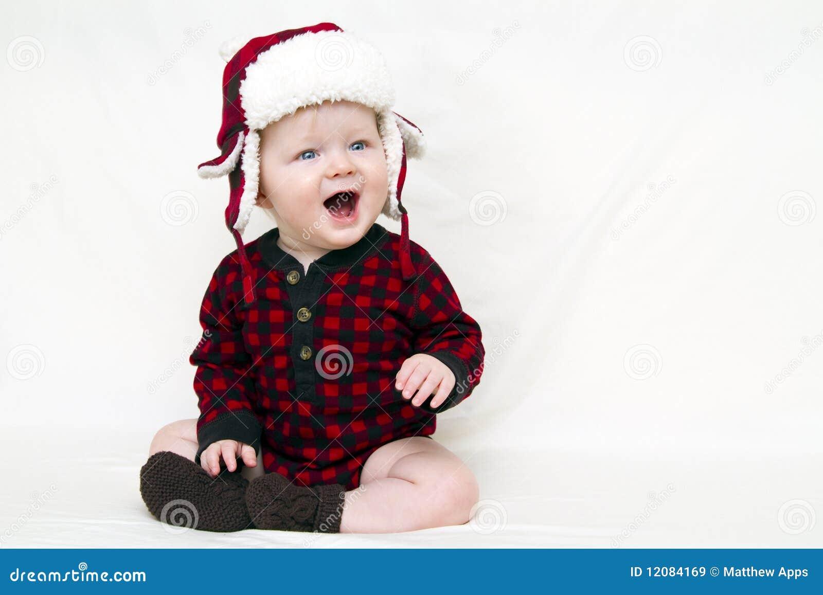 Dziecka bożych narodzeń kapeluszowa czerwona koszula