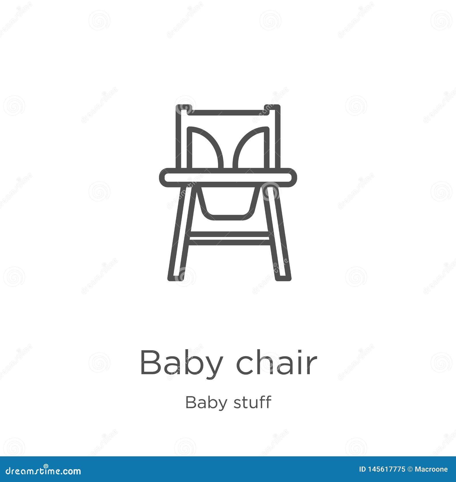 Dziecka krzesła ikony wektor od dziecko materiału kolekcji Cienka kreskowa dziecka krzesła konturu ikony wektoru ilustracja Kontu