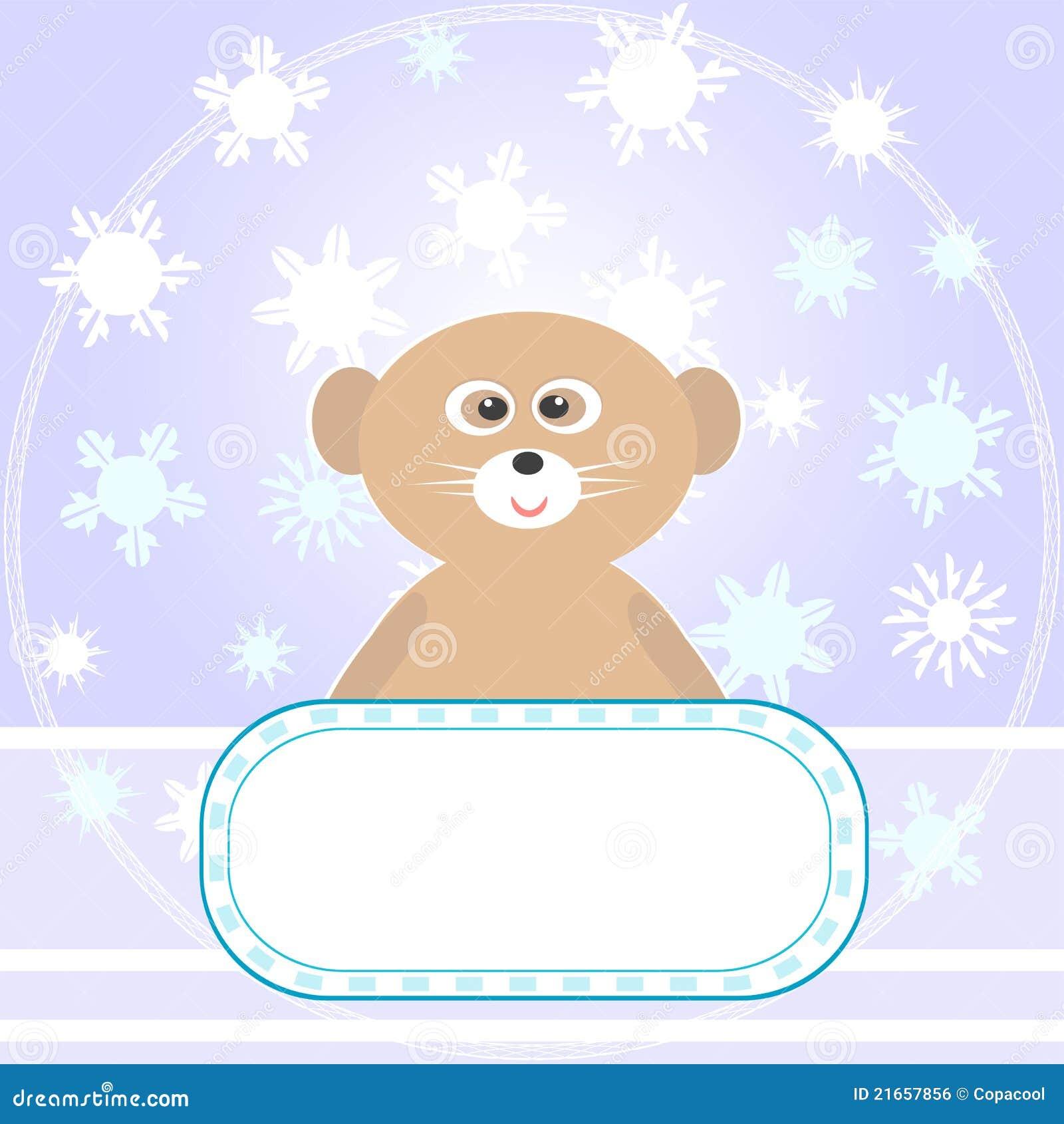Dziecka niedźwiedzia karty powitań płatków śniegów wektor
