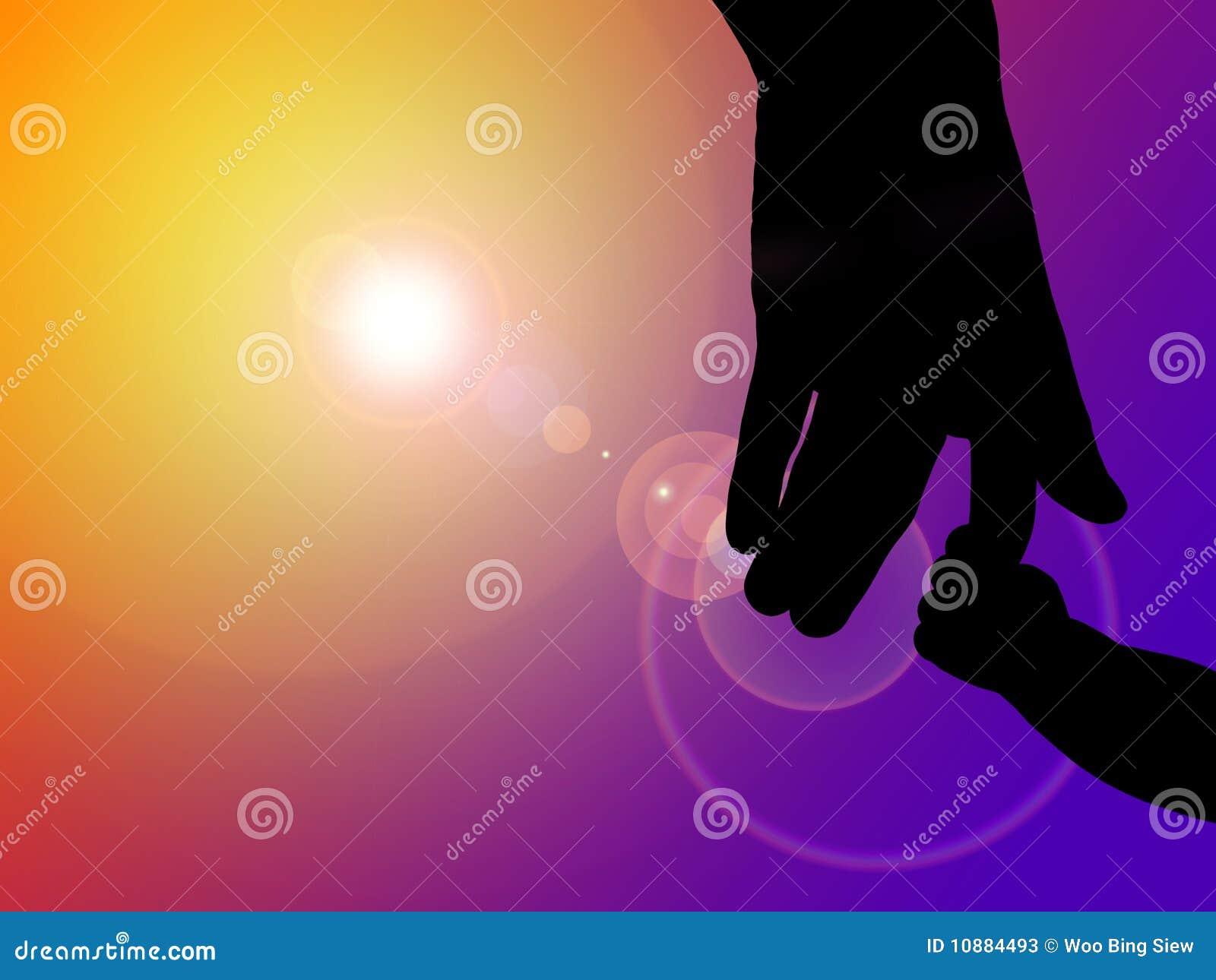 Dziecka ojca ręki sylwetka