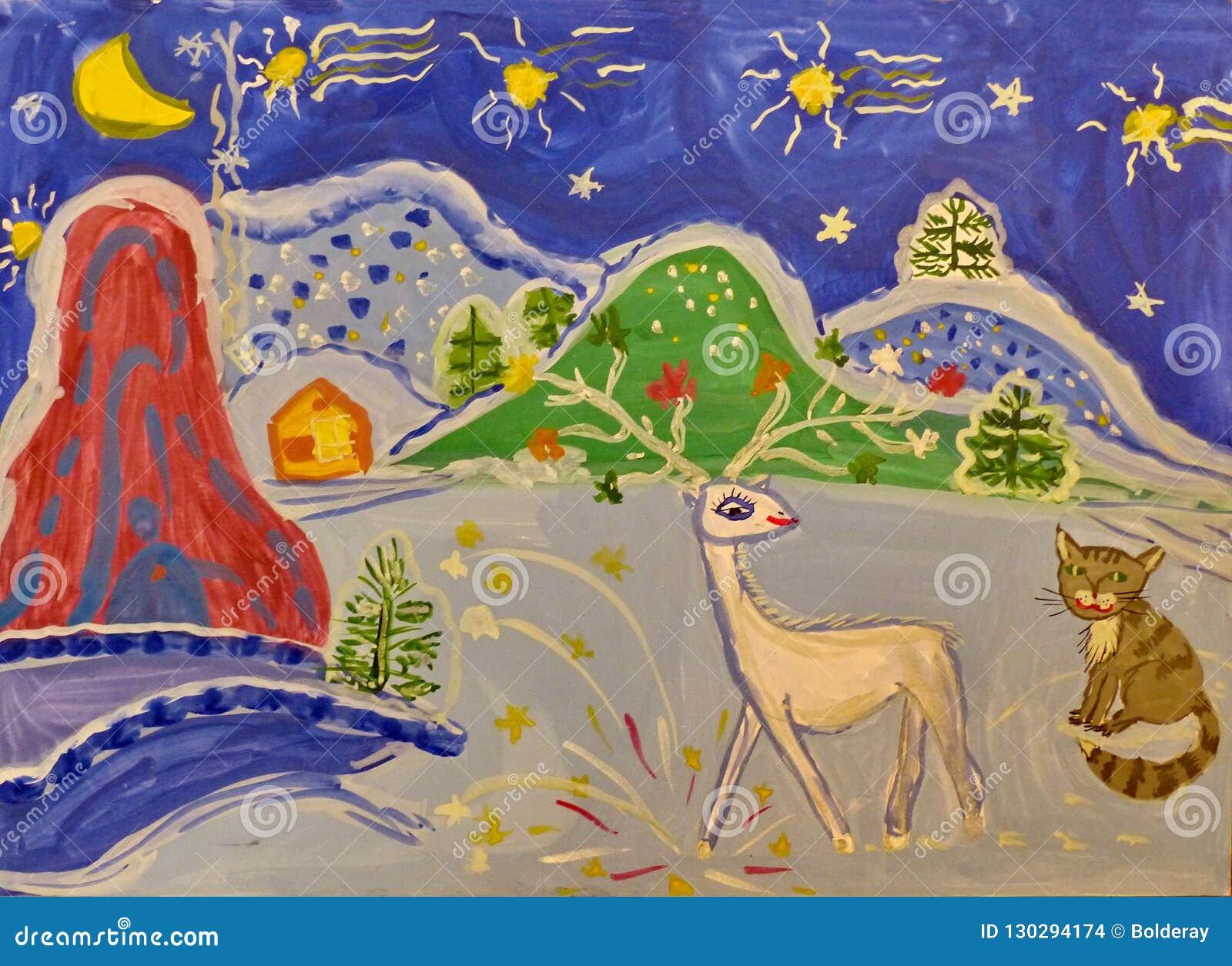 Dziecka rysunek na temacie Ural bajka «srebra kopyto « Guasz, hobby