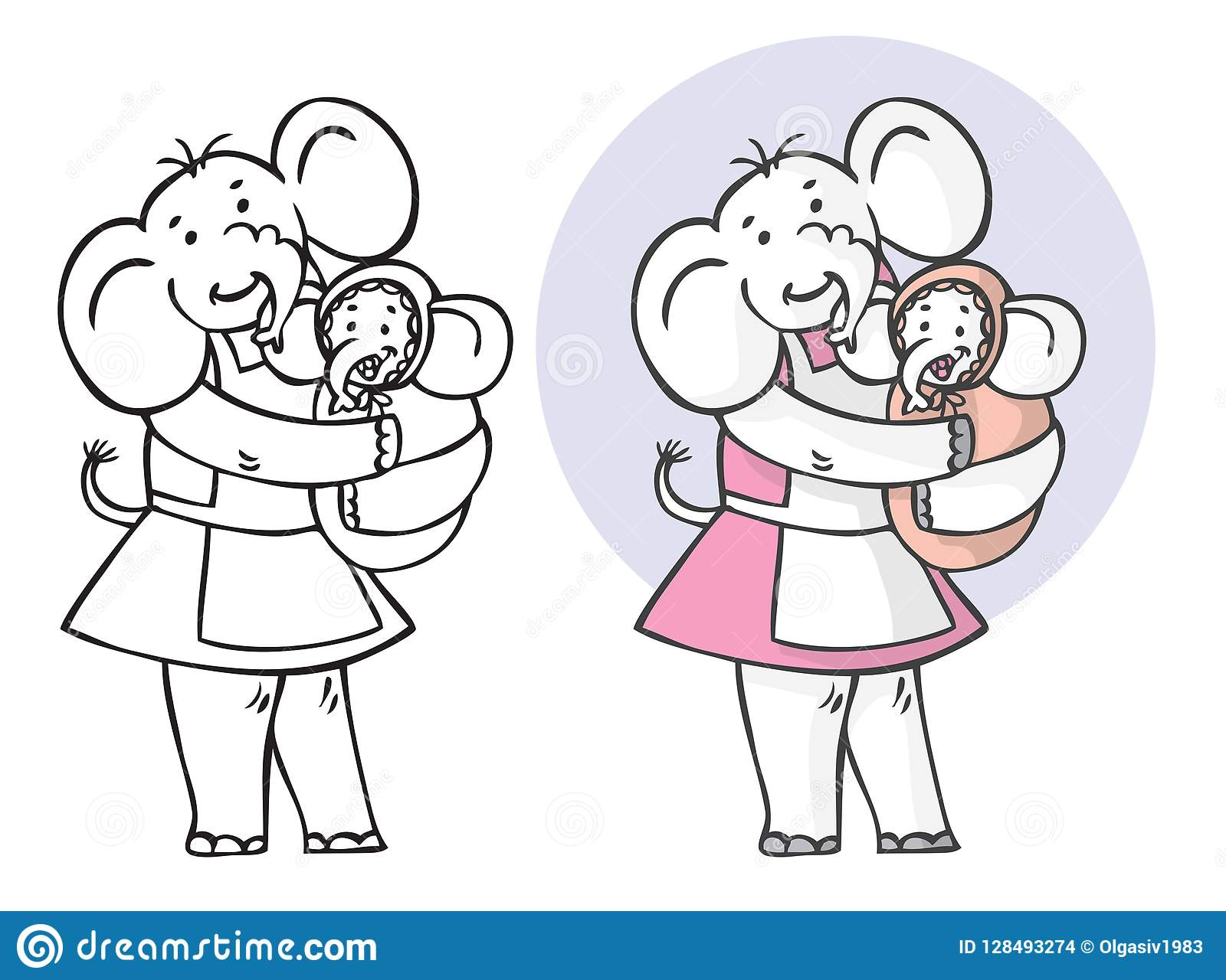 Dziecka słonia matka