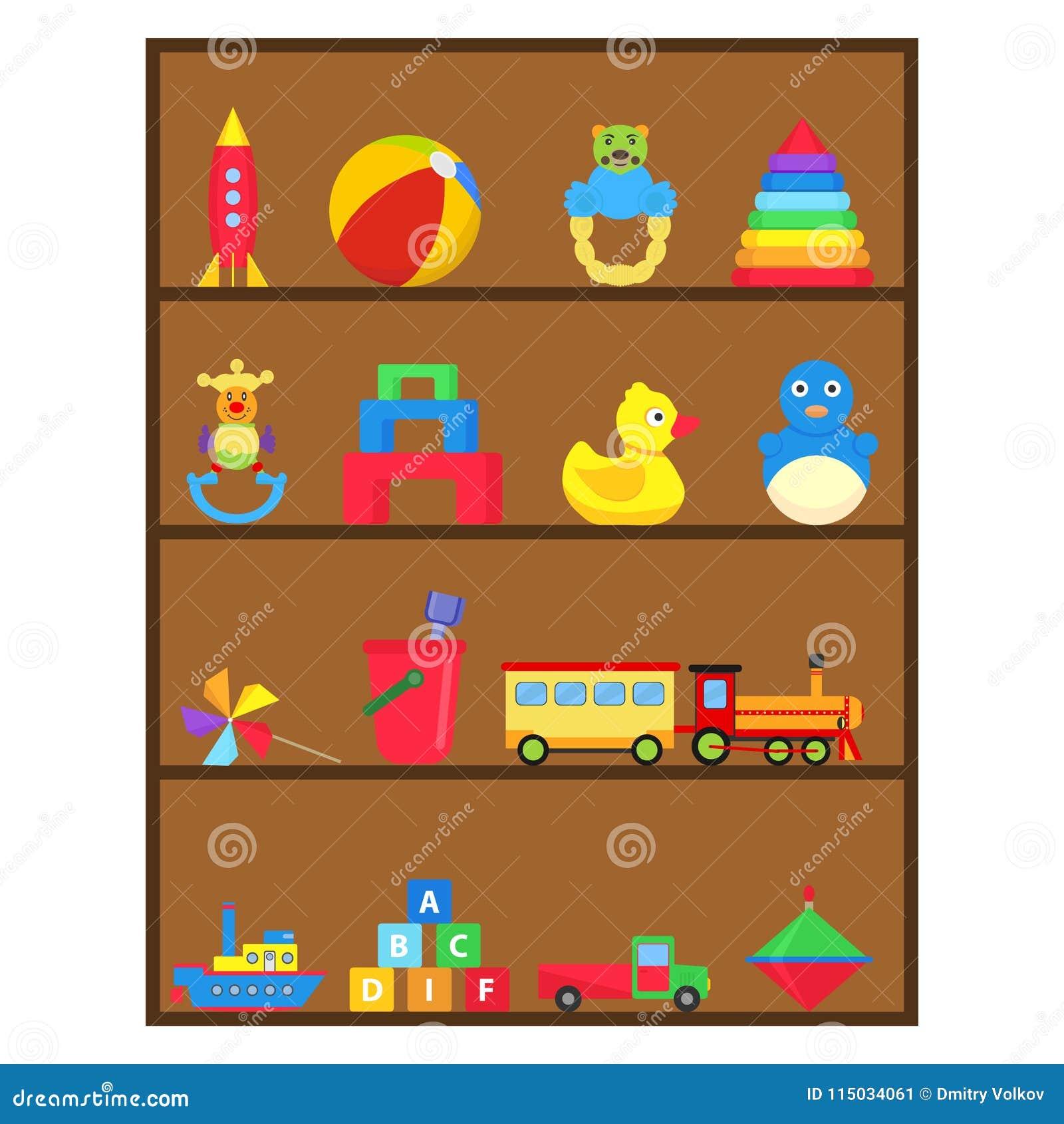 Dziecka ` s bawi się, set dziecka ` s zabawki na półce