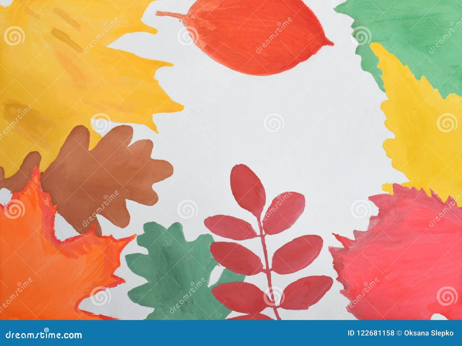 Dziecka ` s rysunek: jesieni rama kolor żółty, czerwień, zieleń, pomarańcze opuszcza Cześć jesieni pojęcie kosmos kopii