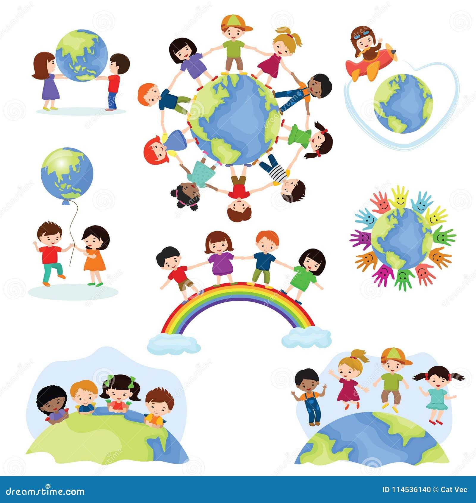 Dziecko światowi wektorowi szczęśliwi dzieciaki na planety ziemi w pokoju i na całym świecie ziemskiej przyjaźni ilustraci pokojo