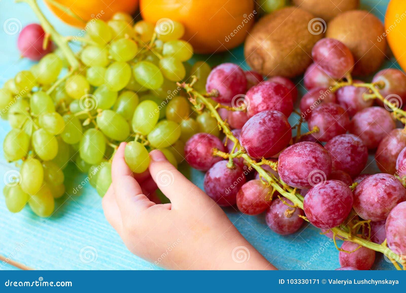 Dziecko bierze owoc Pojęcie zdrowa dieta